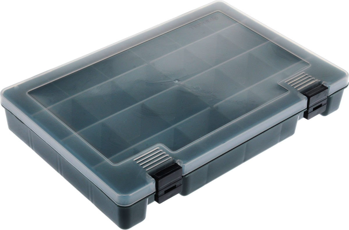 Коробка для крючков и насадок Тривол, цвет: темно-зеленый, прозрачный, 27,4 х 18,8 х 4,5 см бот для рыбалки archeage