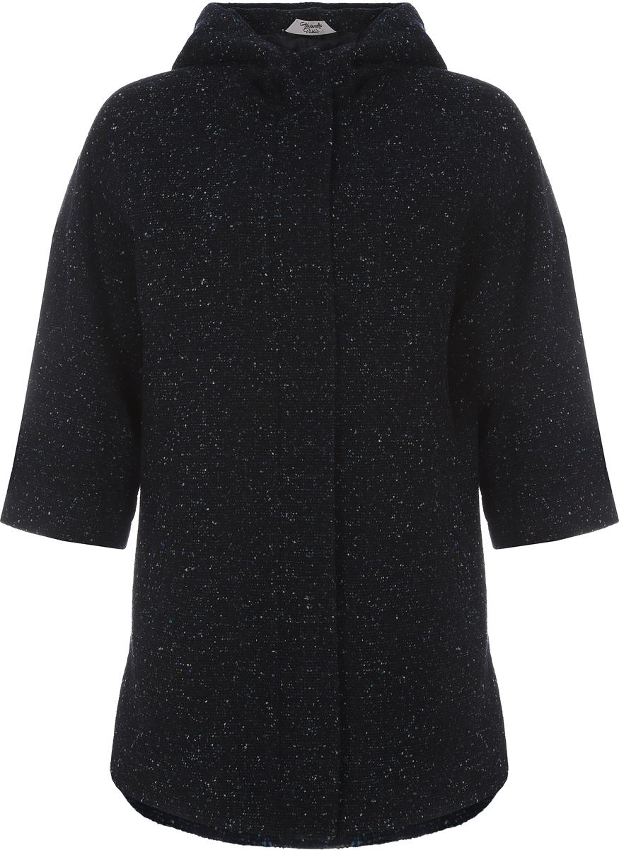 Пальто женское Alessandro Vasaio, цвет: синий. 1433. Размер S (44)1433Стильное пальто-парка свободного кроя с рукавом 3/4 и капюшоном, выполненное из итальянской ткани. Парки из пальтовых тканей - остромодная тенденция.