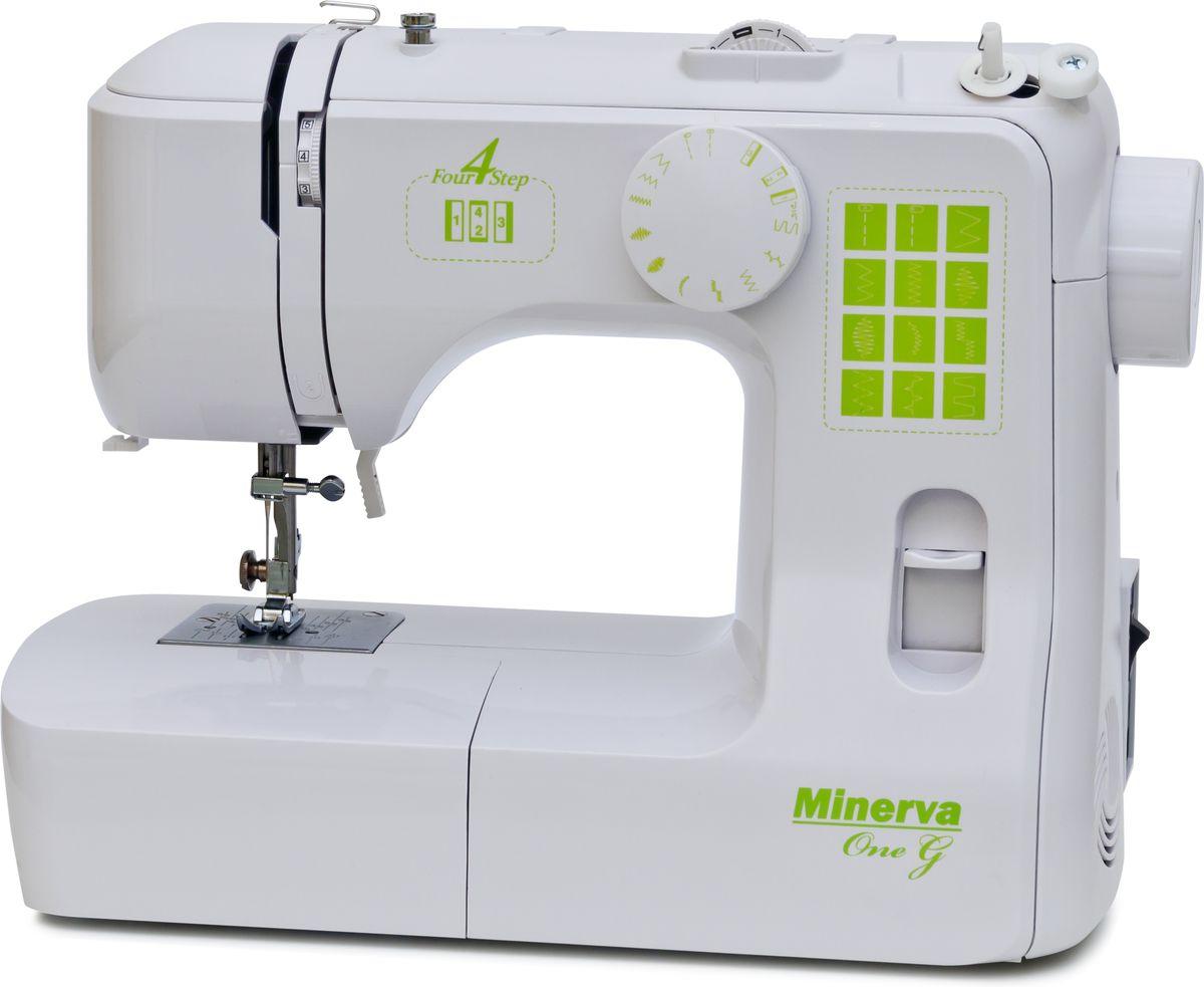 Minerva One G швейная машинаM-1GМашинка Minerva OneG относится к среднему классу швейных приборов и отличается простотой управления и обширной функциональностью. Такие приспособления могут стать хорошими помощниками как для профессиональных швей, не представляющих своей жизни без шитья, так и для трудолюбивых хозяек, которые любят вовремя ремонтировать испорченную одежду.Для того чтобы разобраться в принципах использования таких машинок, не обязательно проходить курсы обучения или обращаться к инструкциям, ведь Minerva OneG очень проста в управлении.Еще одним преимуществом Минервы считается ее способность прошивать любые виды тканей, от легкого шифона до жесткого джинса или даже кожезаменителя, а работа с двойной иглой сделает швы крепкими и сверхпрочными.Строчки:рабочие строчкитрикотажные строчкипотайной шовотделочные строчкиДополнительные функции:Автоматическая намотка шпулькиМеталлическая станинаВозможность шитья двойной иглойУдобный диск выбора строчекРегулятор натяжения верхней нити Светодиодная подсветкаРычаг обратного хода (Реверс)Замена прижимной лапки за одно нажатиеСантиметровая линейка на корпусе машиныОбрезчик нитиРучка для переноса машиныСвободный рукав (для обработки низа рукавов, брюк)Отсек для хранения аксессуаров