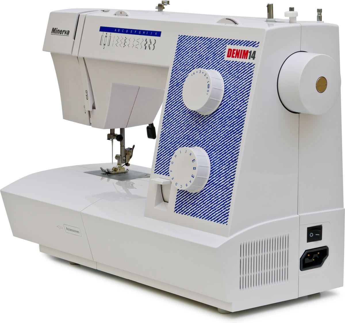 Minerva Denim 14 швейная машинаM-DEN14Minerva Denim14. Представляем Вашему вниманию уникальную продукцию от качественного и проверенного бренда. Minerva всегда отличается высоким уровнем исполнения и предлагает своим клиентам только современные и при этом внешне стильные и оригинальные товары, которые станут прекрасным дополнением к рабочему уголку каждой домашней мастерицы. Также Minerva Denim 14 подходит и для работы в небольших ателье, так как выдерживает большие нагрузки.Представленная модель обладает 14-ю операциями в швейном деле, два диска для регулировки. Представленная швейная машинка достаточно удобная для работы не только днем, но и по вечерам. Ведь здесь есть встроенное освещение рабочей поверхности. Поэтому швее будет прекрасно видно, насколько правильно идет строчка, и сделать изделие аккуратным и красивым, даже если сроки поджимают и приходиться работать внеурочное время. А что уже говорить о домохозяйках, в которых время на личные занятия или хобби есть только ночью.Для удобства работы с разными тканями и разными стилями шитья, конструкция имеет несколько лапок. Так, есть универсальная, специальная модель для невидимого вшивания молнии, лапка для петли, а также для потайной молнии. Покупая такую технику, Вы дарите себе наслаждение от процесса кроя и шитья.Как и большинство швейных машинок, эта модель также позволяет регулировать длину и ширину стежки вплоть до 5 мм. Автоматическая намотка и обрезчик нити также облегчает процесс шитья.Строчки:- рабочие строчки- трикотажные строчки- потайной шов- отделочные строчкиДополнительные функцииАвтоматическая намотка шпулькиМеталлическая станинаВозможность шитья двойной иглойУдобный диск выбора строчекРегулятор натяжения верхней нити Светодиодная подсветкаРычаг обратного хода (Реверс)Замена прижимной лапки за одно нажатиеСантиметровая линейка на корпусе машиныОбрезчик нитиРучка для переноса машиныСвободный рукав (для обработки низа рукавов, брюк)Отсек для хранения аксессуаров