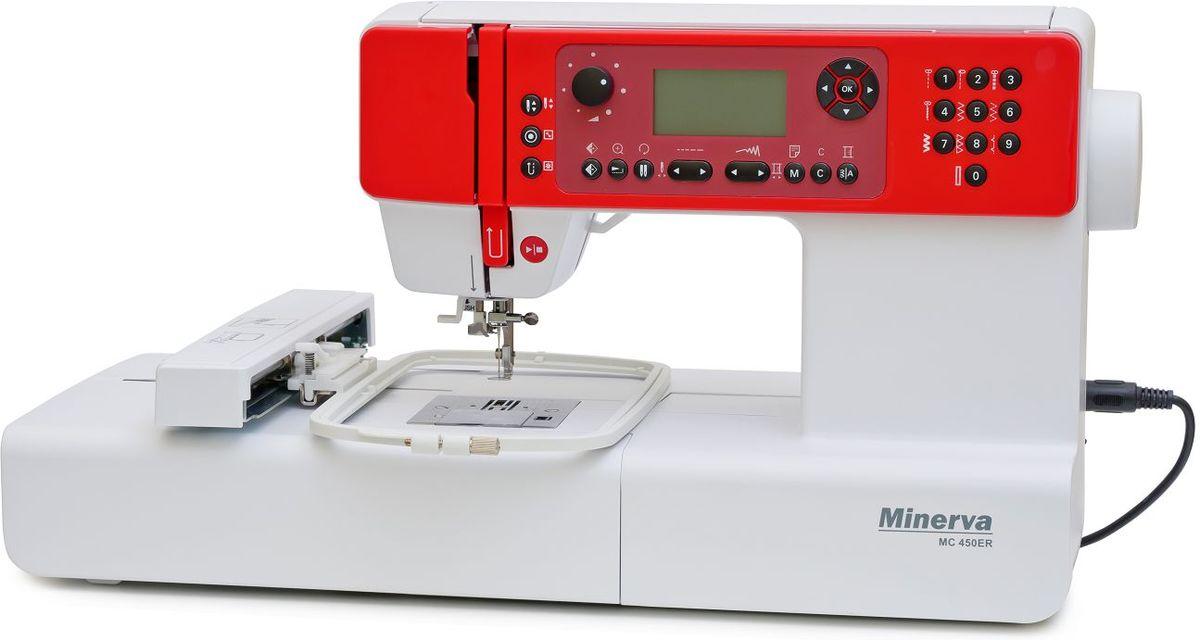 Minerva MC 450ER швейная машинаM-MC450ERМногофункциональная компьютеризованная машинка Minerva MC 450 ER представляет собой прекрасное приспособление, с помощью которого можно не только ремонтировать одежду или шить новые вещи, но и делать роскошные вышивки на любых типах тканей, вне зависимости от их плотности.Такой прибор насчитывает более 400 функций, может быть подключен к компьютеру, имеет дисплей и простую компьютеризированную систему управления, при которой все функции отображаются на экранчике.Технические составляющиеЧелнок в машинке Minerva MC 450 ER расположен горизонтально, такое положение позволяет легко заменить шпульку. Наматывание ниток на шпульку проводится в автоматическом режиме, при котором на время наматывания прибор переводится в режим холостого хода, вдевание нити осуществляется тоже автоматически.Выбрать тип строчки можно с помощью удобного и быстрого меню, при этом существует возможность регулировать уровень натяжения нити, скорость шитья, силу прижима ткани лапкой. Обрезка нити возможна с использованием бокового ножичка, встроенного в прибор.ВышивкаС помощью Minerva MC 450 ER можно наносить изысканную вышивку на ткани любого типа, для этого следует в основном меню выбрать программу вышивания и определиться с узором. Что касается узоров, то в базе данных машинки есть в наличии разные узорные варианты, которые можно комбинировать и совмещать.Существует возможность компьютерного моделирования узора по личному проекту, а можно использовать закачанные файлы вышивки.Единственным неудобством, с которым можно столкнуться при попытке вышить закачанные файлы, может стать то, что компьютерной системой Minerva MC 450 ER воспринимаются только рисунки в формате zhs.Для возможности отображения файлов других форматов можно воспользоваться конвертером. Он поможет не только перевести любой файл, неподдерживаемый данной моделью приспособления для вышивания, но и станет помощником при воплощении своих авторских идей. Инструкцию по использованию конвертера можно