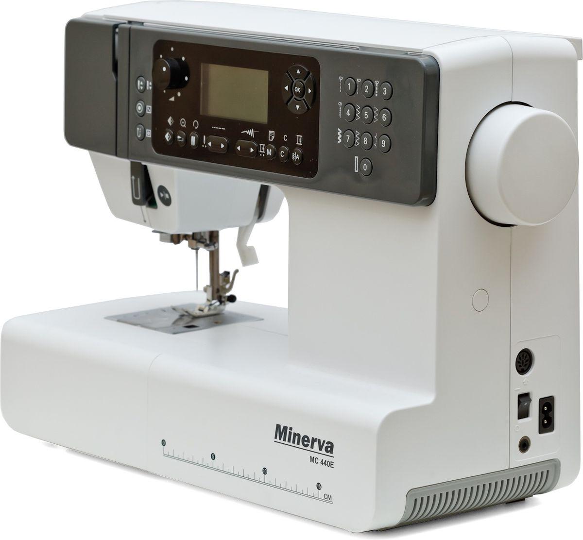 Minerva MC 440E швейная машинаM-MC440EКомпьютеризированная швейно-вышивальная машина Minerva MC 440 E выполняет 404 вида операций (10 видов петель, 40 мотивов вышивки и алфавит). Она имеет удобное меню быстрого выбора строчек, диск регулировки скорости шитья, усиленный нижний транспортер.Модель работает с различными видами тканей – от самых тонких до плотных и толстых материалов. В машине присутствует удобная регулировка натяжения нитей и быстрая замена прижимной лапки за одно нажатие. Максимальное количество стежков для одного дизайна вышивки – 30 000 ст.Технические характеристики швейно-вышивальной машины MINERVA MC440EАнимированный LCD дисплей с подсветкойУдобная панель управления с прямым доступом к регулировке основных параметров строчкиГоризонтальное челночное устройствоФункция увеличения строчкиРегулировка скорости шитьяМеню быстрого выбора строчекРаботает с различными видами тканей - от шелка до тонкой кожиРегулировка натяжения нитейВстроенный нитеобрезатель (Боковой нож)Автоматический нитевдевательДвухуровневый рычаг подъема прижимной лапкиБыстрая замена прижимной лапки Съемная рукавная консольРегулятор давления лапки на тканьВозможность работы без педалиАвтоматическое переключение на холостой ход при намотке на шпулькуПодсветка рабочей зоныВозможности: Возможность соединения c компьютером через USB устройствоЗеркальное отображение образца вышивкиАлфавитФункция поворота/увеличения образца вышивки (80-120%)Автоматическое определение границ и размеров вышивкиМаксимальный размер вышивки: 110х170 мм.Работа двойной иглой
