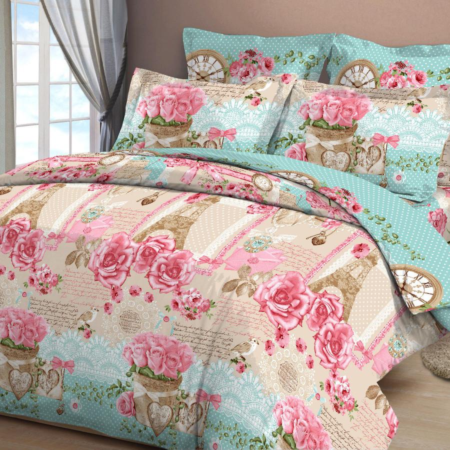 Комплект белья Letto, семейный, наволочки 70х70, цвет: розовый, голубой комплект белья letto семейный наволочки 70х70 цвет голубой синий b183 7