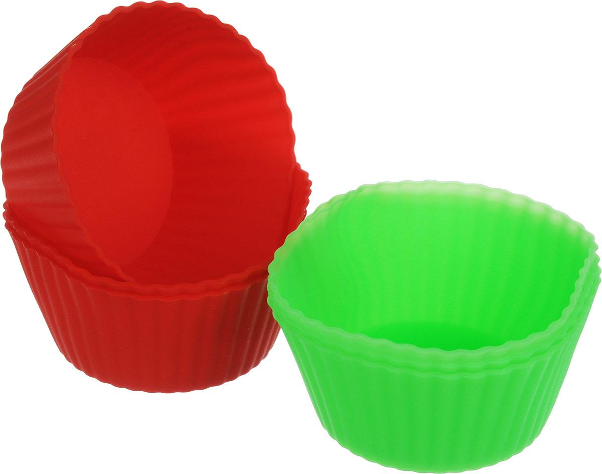 Набор форм для выпечки Доляна Риб.Круг, красный, салатовый, 7 х 4 см, 6 шт707998_красный салатовыйФорма для выпечки из силикона - современное решение для практичных и радушных хозяек. Блюдо сохраняет нужную форму и легко отделяется от стенок после приготовления, имеет высокую термостойкость (от -40 до 230 градусов), что позволяет применять форму в духовых шкафах и морозильных камерах.Имея небольшую массу делает эксплуатацию предмета простой, силикон пригоден для посудомоечных машин.Высокопрочный материал делает форму долговечным инструментом.При хранении предмет занимает мало места.Советы по использованию формы:- перед первым применением промойте предмет тёплой водой;- в процессе приготовления используйте кухонный инструмент из дерева, пластика или силикона;- перед извлечением блюда из силиконовой формы дайте ему немного остыть, осторожно отогните края предмета.Готовьте с удовольствием!