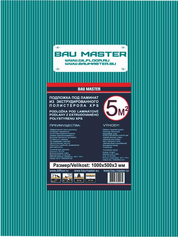 Подложка Bau Master, листовая, 3 мм, 1 м Bau Master