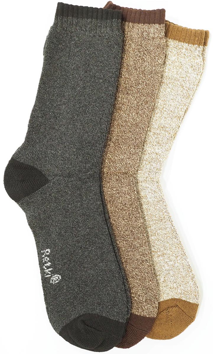 Носки Retki, цвет: бежевый, коричневый, черный, 3 пары. R5550. Размер 43/46R5550Носки Retki из плотного, мягкого и комфортного хлопка. Подходят для круглогодичного использования. В теплую погоду носок из хлопка предохраняет от перегрева, также подходят для использования в холодную погоду в сочетании с тёплой обувью. Устойчивы к истиранию, не садятся при стрике и отличаются долговечностью при носке. В комплект входит 3 пары разного цвета: бежевый-св.коричневый/св.коричневый-т.коричневый/т.серый-чёрный