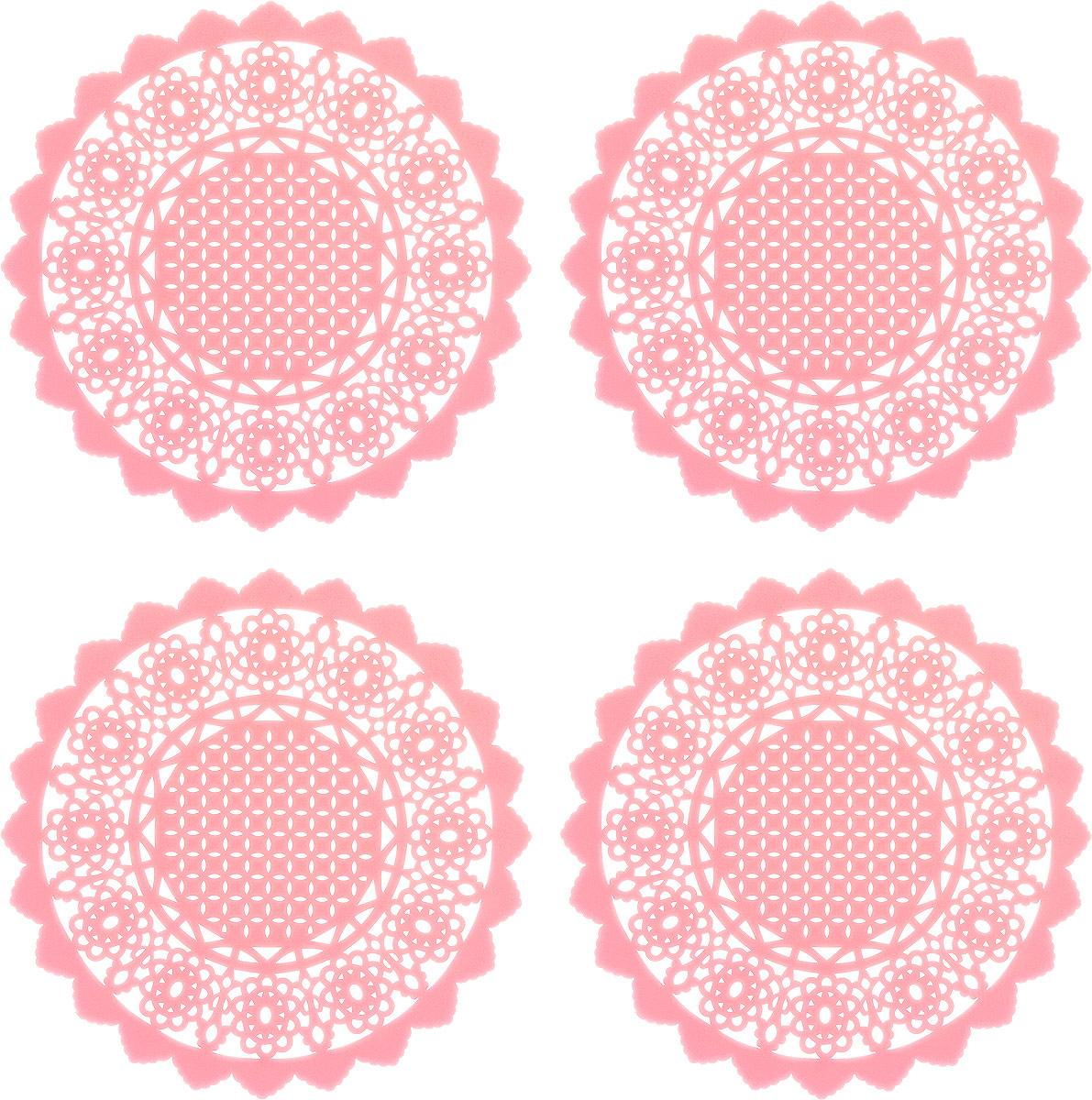 Набор подставок под горячее ДолянаАжур, цвет: светло-розовый, 10 см, 4 шт939019_светло-розовыйСиликоновая подставка под горячее - практичный предмет, который обязательно пригодится в хозяйстве. Изделие поможет сберечь столы, тумбы, скатерти и клеёнки от повреждения нагретыми сковородами, кастрюлями, чайниками и тарелками.