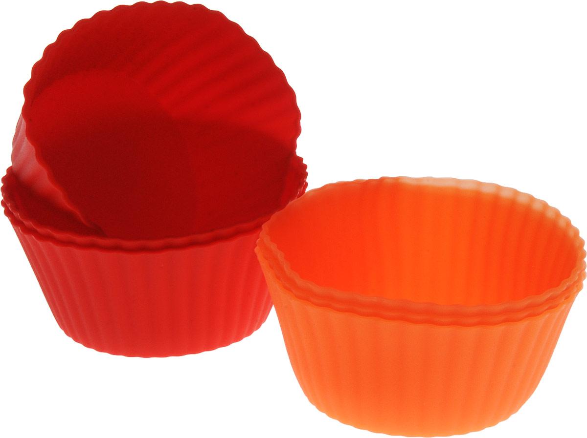 Набор форм для выпечки Доляна Риб.Круг, цвет: красный, оранжевый, 7 х 4 см, 6 шт707998_красный оранжевыйФорма для выпечки из силикона - современное решение для практичных и радушных хозяек. Блюдо сохраняет нужную форму и легко отделяется от стенок после приготовления, имеет высокую термостойкость (от -40 до 230 градусов), что позволяет применять форму в духовых шкафах и морозильных камерах.Имея небольшую массу делает эксплуатацию предмета простой, силикон пригоден для посудомоечных машин.Высокопрочный материал делает форму долговечным инструментом.При хранении предмет занимает мало места.Советы по использованию формы:- перед первым применением промойте предмет тёплой водой;- в процессе приготовления используйте кухонный инструмент из дерева, пластика или силикона;- перед извлечением блюда из силиконовой формы дайте ему немного остыть, осторожно отогните края предмета.Готовьте с удовольствием!