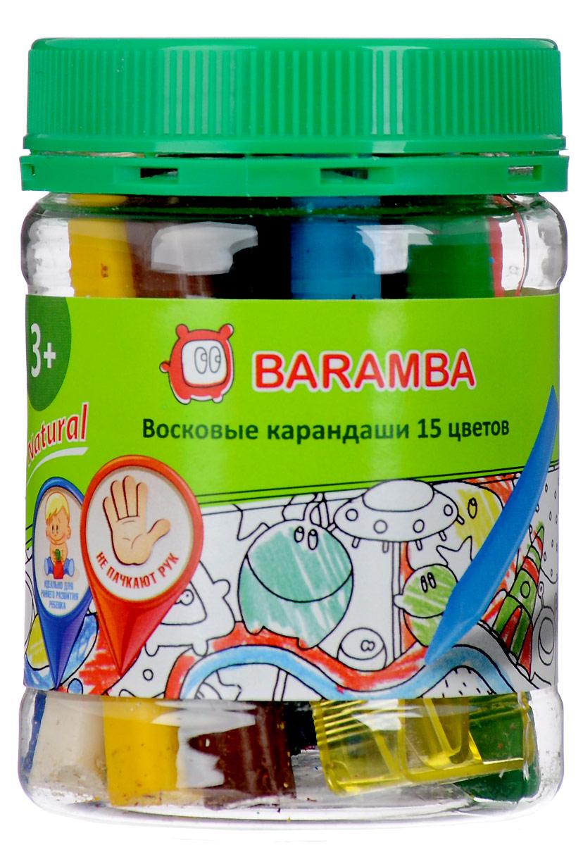 Baramba Набор восковых треугольных карандашей 15 шт с точилкойB97315Набор восковых треугольных карандашей Baramba предназначен для первых опытов рисования. Карандаши содержат пищевые красители, не имею запаха, не пачкают руки. Проводят очень мягкие, яркие, толстые линии.Подходят для подготовки к обучению письму.В комплекте точилка и наклейка-раскраска.Уважаемые клиенты! Обращаем ваше внимание на ассортимент в дизайне упаковки. Поставка осуществляется в зависимости от наличия на складе.