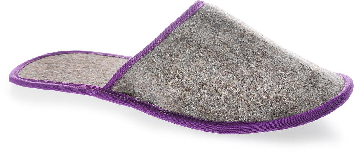 """Тапочки """"Ecology Sauna"""", из толстого войлока, с непромокаемой подошвой, цвет: серый, фиолетовый"""