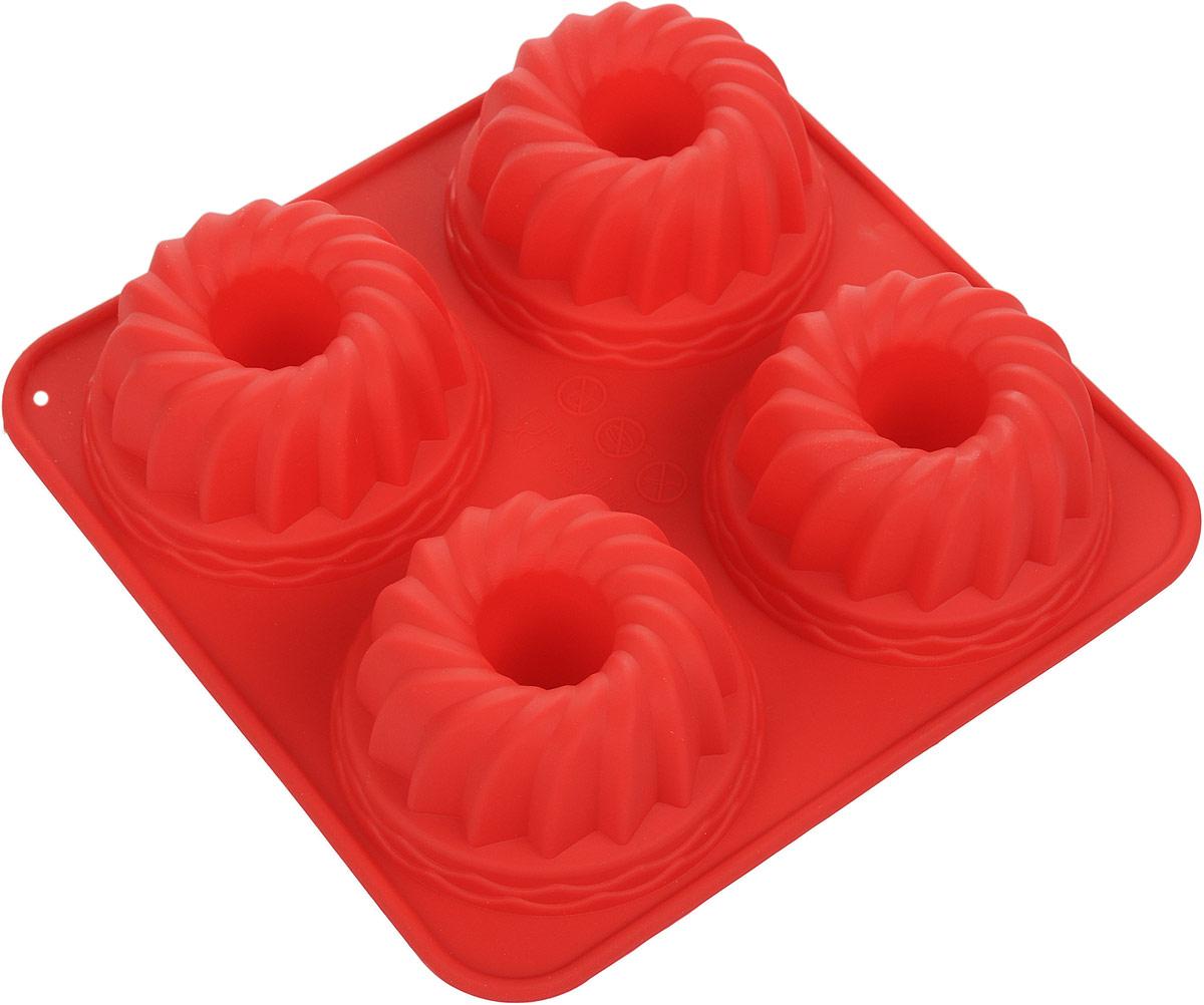 Форма для выпечки Доляна Бублик, цвет: красный, 18 х 18 х 3,8 см, 4 ячейки123160_красныйФорма для выпечки из силикона - современное решение для практичных и радушных хозяек. Оригинальный предмет позволяет готовить в духовке любимые блюда из мяса, рыбы, птицы и овощей, а также вкуснейшую выпечку. Особенности:блюдо сохраняет нужную форму и легко отделяется от стенок после приготовления;высокая термостойкость (от -40 до +250°С) позволяет применять форму в духовых шкафах и морозильных камерах;небольшая масса делает эксплуатацию предмета простой даже для хрупкой женщины;силикон пригоден для посудомоечных машин;высокопрочный материал делает форму долговечным инструментом;при хранении предмет занимает мало места.Советы по использованию формы:Перед первым применением промойте предмет тёплой водой.В процессе приготовления используйте кухонный инструмент из дерева, пластика или силикона.Перед извлечением блюда из силиконовой формы дайте ему немного остыть, осторожно отогните края предмета.