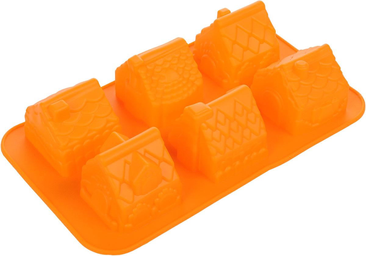 Форма для выпечки Доляна Домики, цвет: оранжевый, 29 х 17 см, 6 ячеек114052_оранжевыйФорма для выпечки из силикона - современное решение для практичных и радушных хозяек. Оригинальный предмет позволяет готовить в духовке любимые блюда из мяса, рыбы, птицы и овощей, а также вкуснейшую выпечку. Особенности:блюдо сохраняет нужную форму и легко отделяется от стенок после приготовления;высокая термостойкость (от -40 до +250°С) позволяет применять форму в духовых шкафах и морозильных камерах;небольшая масса делает эксплуатацию предмета простой даже для хрупкой женщины;силикон пригоден для посудомоечных машин;высокопрочный материал делает форму долговечным инструментом;при хранении предмет занимает мало места.Советы по использованию формы:Перед первым применением промойте предмет тёплой водой.В процессе приготовления используйте кухонный инструмент из дерева, пластика или силикона.Перед извлечением блюда из силиконовой формы дайте ему немного остыть, осторожно отогните края предмета.