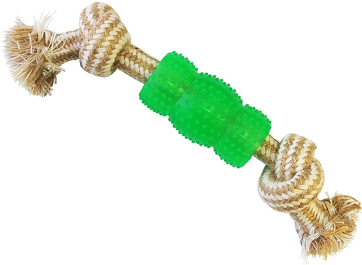 Грейфер для собак №1 2 узла, с игрушкой, 23 смГР027Благодаря веревке, сплетенной из джутовых нитей, игрушка-грейфер поможет поддерживать гигиену зубов собак и массажировать десны.