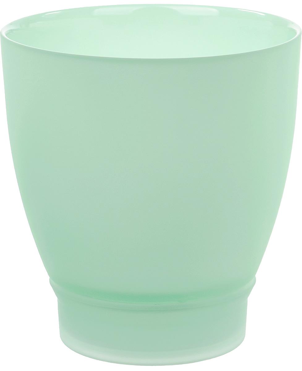 Горшок с поддоном Nina Glass НТ-2, цвет: мята, 1 л горшки для растений техоснастка корона для орхидеи с поддоном бордо d 130 h 120