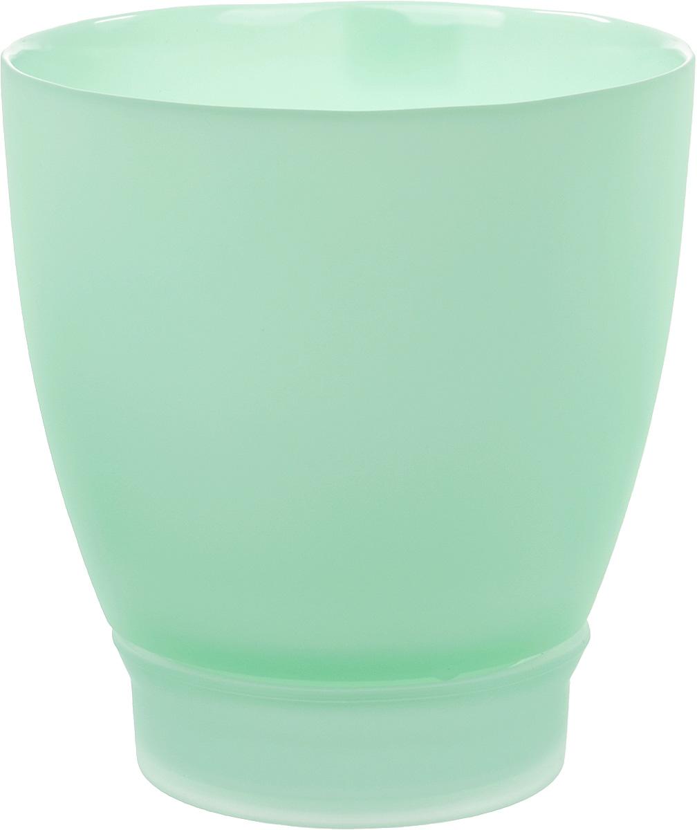 Горшок с поддоном Nina Glass НТ-3, цвет: мята, 1,7 л горшки для растений техоснастка корона для орхидеи с поддоном бордо d 130 h 120