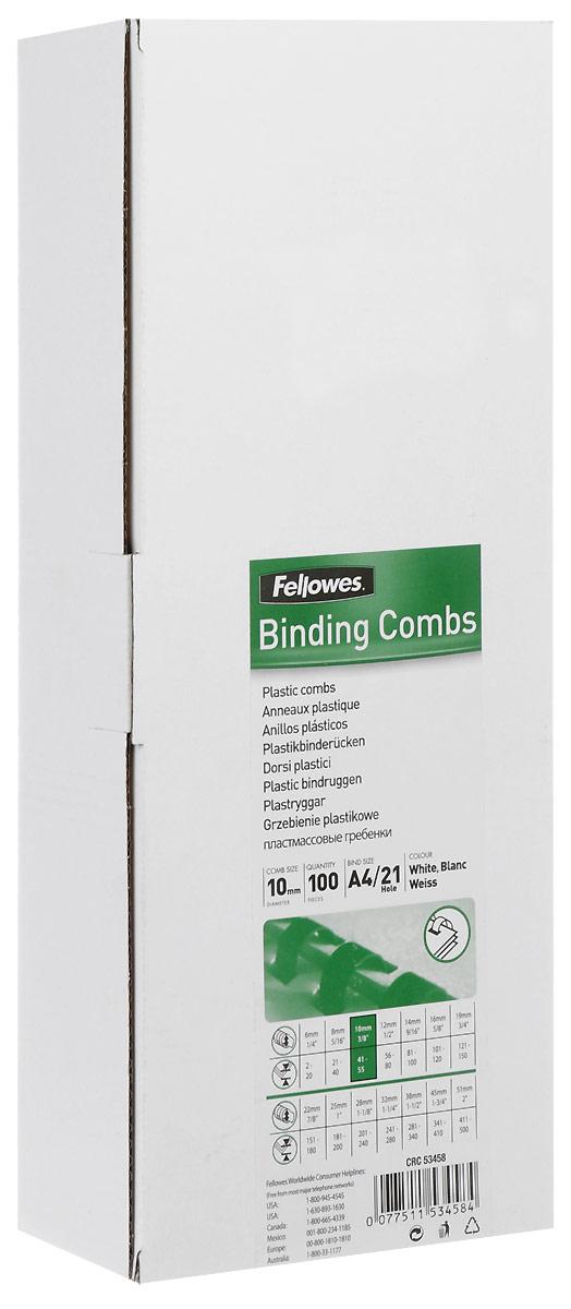 Fellowes FS-53458, White пружина для переплета, 10 мм (100 шт)FS-53458Пружина пластиковая. Обладает высокой упругостью на разжим, надежно удерживает листы в переплете. Возможно многократное использование. Предназначена для переплета всех видов документов.Уважаемые клиенты! Обращаем ваше внимание на то, что упаковка может иметь несколько видов дизайна. Поставка осуществляется в зависимости от наличия на складе.