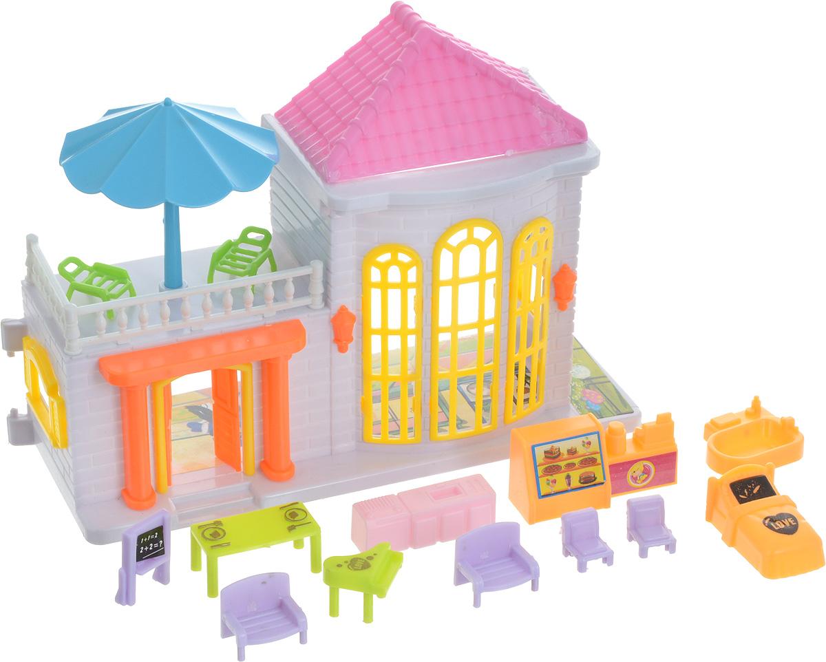 EstaBella Кукольный домик Солнечный городок улица Зеленая дом 2 с мебелью цвет белый розовый голубой 1 toy кукольный домик красотка колокольчик с мебелью 29 деталей