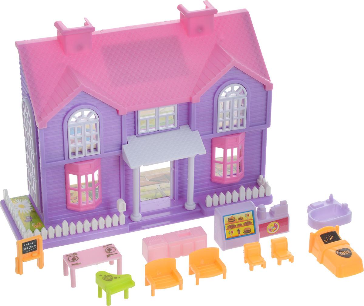 EstaBella Кукольный домик Солнечный городок улица Зеленая дом 2 с мебелью цвет сиреневый розовый пазл кукольный дом 102671