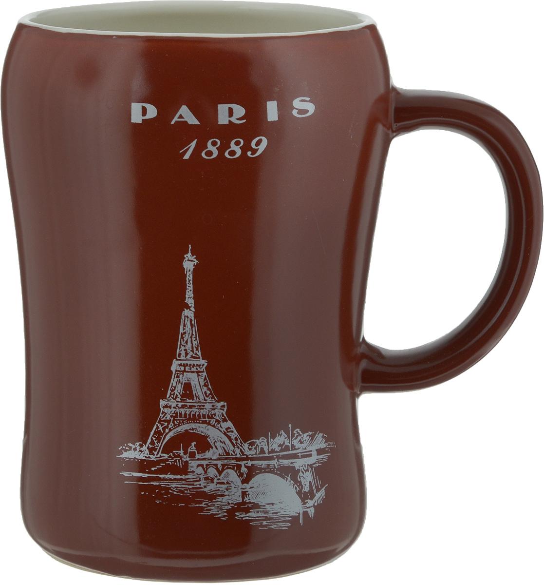 Кружка пивная Bella Paris, цвет: коричневый, 500 млKR-01SCD290CB-1438_коричневыйПивная кружка Bella Paris- это не просто емкость для пенного напитка, это еще оригинальный сувенир или прекрасный подарок для настоящего ценителя. Такая пивная кружка превращает распитие пива в настоящий ритуал. Кружка выполнена из керамики и надписью Paris 1889. Пивная кружка Bella Paris станет прекрасным пополнением вашей коллекции. Не рекомендуется мыть в посудомоечной машине.Объем: 500 мл. Высота кружки: 13 см. Диаметр (по верхнему краю): 8,5 см.