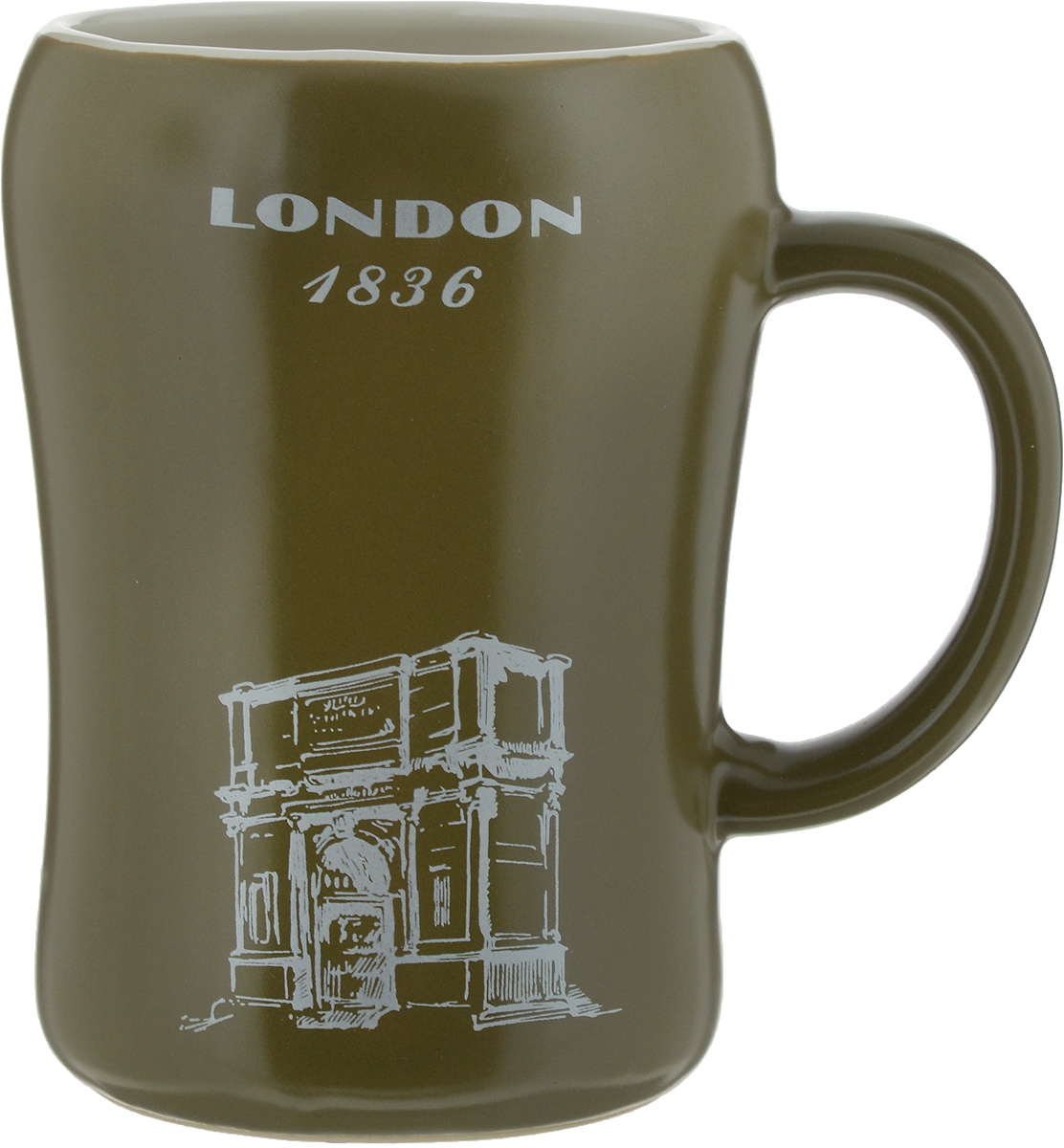 Кружка пивная Bella London, цвет: оливковый, 500 млKR-01SCD290CB-1438_оливковыйПивная кружка Bella London- это не просто емкость для пенного напитка, это еще оригинальный сувенир или прекрасный подарок длянастоящего ценителя. Такая пивная кружка превращает распитие пива в настоящий ритуал. Кружка выполнена из керамики и надписьюLondon1836.Пивная кружка Bella Paris станет прекрасным пополнением вашей коллекции.Не рекомендуется мыть в посудомоечной машине. Объем: 500 мл.Высота кружки: 13 см.Диаметр (по верхнему краю): 8,5 см.