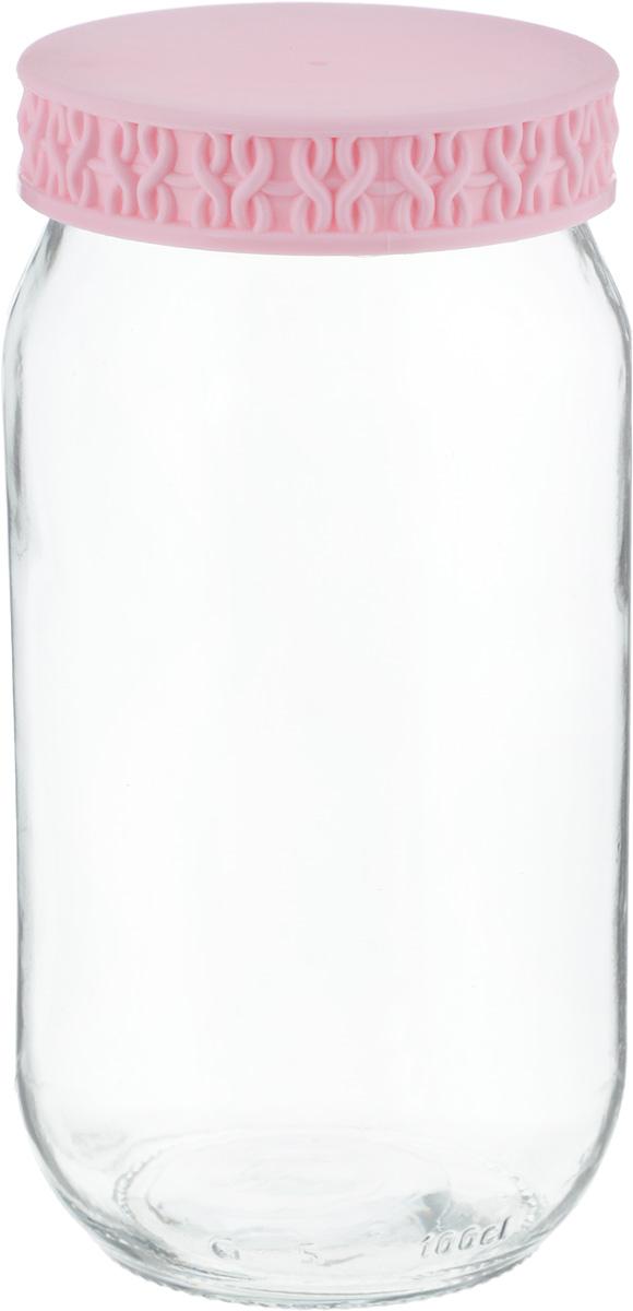 Банка Remmy Home, цвет: прозрачный, розовый, 1 л200007_прозрачный, розовыйБанка для сыпучих продуктов Herevin выполнена из высококачественного прочного стекла. Изделие снабжено плотно закручивающейсяпластиковой крышкой с рельефом. Прозрачные стенки позволяют видеть содержимое. Такая банка отлично подойдет для хранения различныхсыпучих продуктов: орехов, сухофруктов, чая, кофе, специй. Диаметр банки: 8,5 см. Высота банки: 18 см.