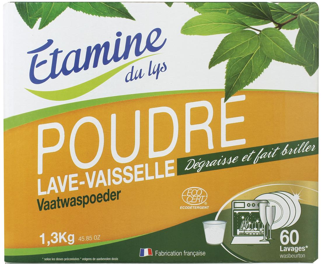 Экологичный порошок Etamine du Lys, для посудомоечных машин, 1,3 кг0520630100% экологическое средство для качественного и безопасного мытья посуды в посудомоечной машине. Подходит для всех температурных режимов! Эффективен уже при 40°C. Без труда удаляет сильные загрязнения, засохшие остатки пищи, жир, пятна от чая и кофе и т. п. Придает кристальный блеск посуде. Без отдушек. Защищает посуду и посудомоечную машину от известкового налета.Экономичен: 1 упаковки хватает не менее чем на 50 циклов. ПАВ растительного происхождения. Рекомендуется использовать вместе с солевым восстановителем и ополаскивателем для посудо- моечных машин Etamine du lys. Абсолютно безопасно для человека и окружающей среды.