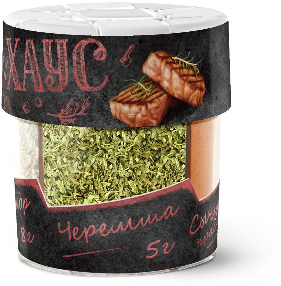 Домашняя кухна Набор приправ для говядины Стейк-хаус, 60 г33427Этот набор пряностей откроет новые грани вкуса привычных блюд из говядины и телятины. Кориандр добавит блюдам жгуче-пряный вкус и очень насыщенный своеобразный аромат, черемша — тонкого пряного аромата, а красный сычуаньский перец — легкой жгучести.