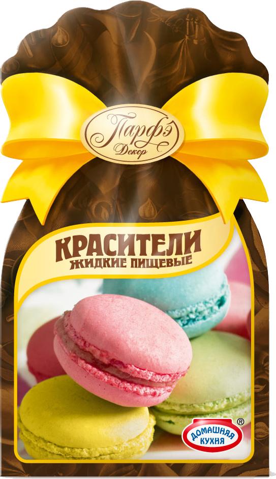 Парфэ Красители пищевые жидкие, 36 г36864Красители Парфэ предназначены для придания окраски кремам (масляному, белковому, заварному), муссам, желе, мармеладам, джемам, мороженому, взбитым сливкам, сахарной мастике и т. д. Рекомендуемая дозировка: 2-3 капли на 100 грамм продукта в зависимости от желаемой интенсивности цвета.