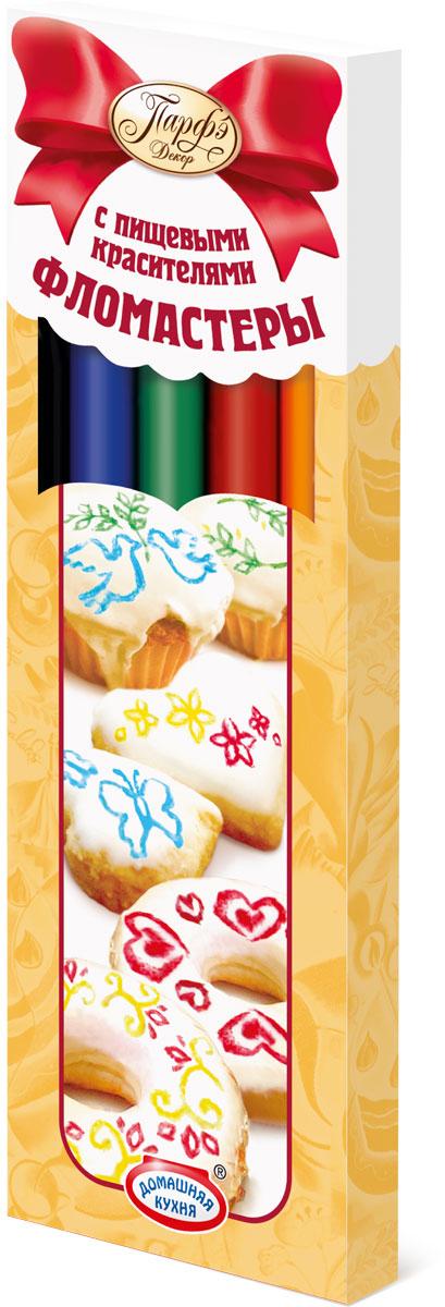 Парфэ Фломастеры пищевые 5 цветов8654Пищевые фломастеры по виду напоминают обычные, но заправлены они не чернилами, а съедобными красителями разных цветов. Применяются для рисования, нанесения надписи на поверхность кондитерских изделий. Фломастеры можно использовать для декорирования печенья, пряников, тортов, пасхальных яиц, куличей и т. д.