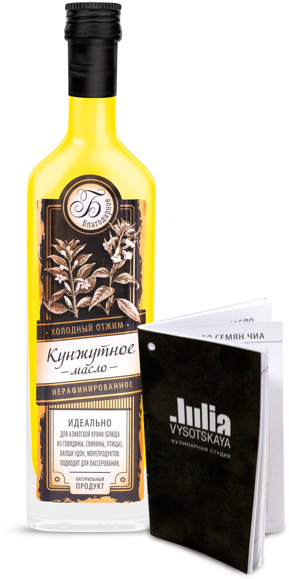 """Кунжутное масло """"Благодарное"""" первого холодного отжима имеет приятный аромат и выраженный ореховый вкус с нотками семени кунжута. Дегустаторы используют свойства масла для активизации вкусовых рецепторов. Если прополоскать им полость рта, то становятся более ощутимы тончайшие вкусовые нюансы. Содержит витамины А, В, С, D, Е, калий, кальций, магний), железо, фосфор, марганец, кремний, медь), сквален. Чайная ложка кунжутного масла содержит суточную дозу кальция. Добавляется в домашнюю выпечку, плов, картофельное и овощное пюре, соусы, к морепродуктам. Используется как заправка для салатов, каш, супов и гарниров, в приготовлении мясных блюд. Подходит для легкого пассерования (до 120 °C)."""