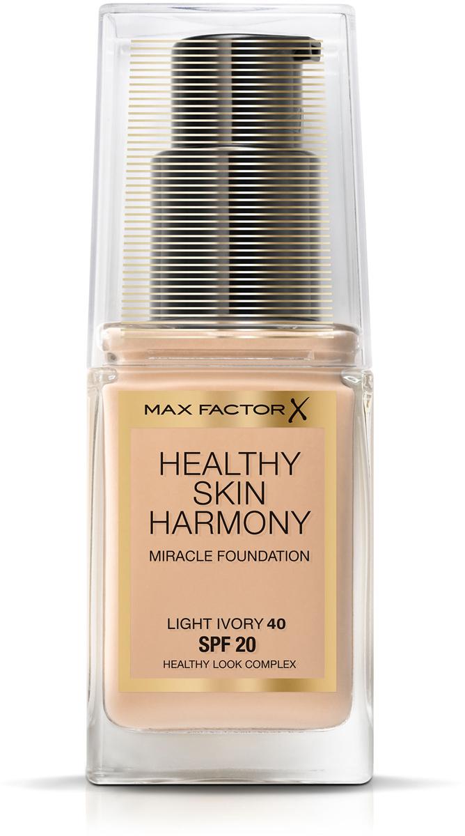 Max Factor Тональная основа Healthy Skin Harmony Miracle Foundation, тон №40 Light Ivory, 30 мл81619905Тональная основа Max Factor Healthy Skin Harmony Miracle Foundation — это многозадачный продукт, который позволяет вам добиться вида безупречной и сияющей здоровьем кожи, используя всего одно средство. Новая тональная основа— это лучшее решение для вашей кожи, чем полное отсутствие макияжа. Формула: Тональная основа Max Factor Healthy Skin Harmony Miracle Foundation— это гибридное средство для макияжа со смарт-формулой и интеллектуальными ингредиентами, разработанное специально для адаптации ко внутренним и внешним стрессам, которым подвергается кожа в течении дня: 24-часовое увлажнение, защита от солнца SPF20 и контроль за блеском помогают защитить вашу кожу от пересыхания, блеска и солнечного излучения. Основа восстанавливает усталую, подвергающуюся стрессу кожу и улучшает ее состояние. Секреты визажистов Чтобы подобрать правильный оттенок тональной основы, подходящий вашему тону кожи, нанесите средство на линию челюсти. Для того, чтобы получить равномерное покрытие, нанесите небольшое количество средства по центру лица и растушуйте при помощи кисти для тональной основы или кончиками пальцев в направлении к внешним краям лица. Всегда наносите основу в условиях хорошего естественного освещения.