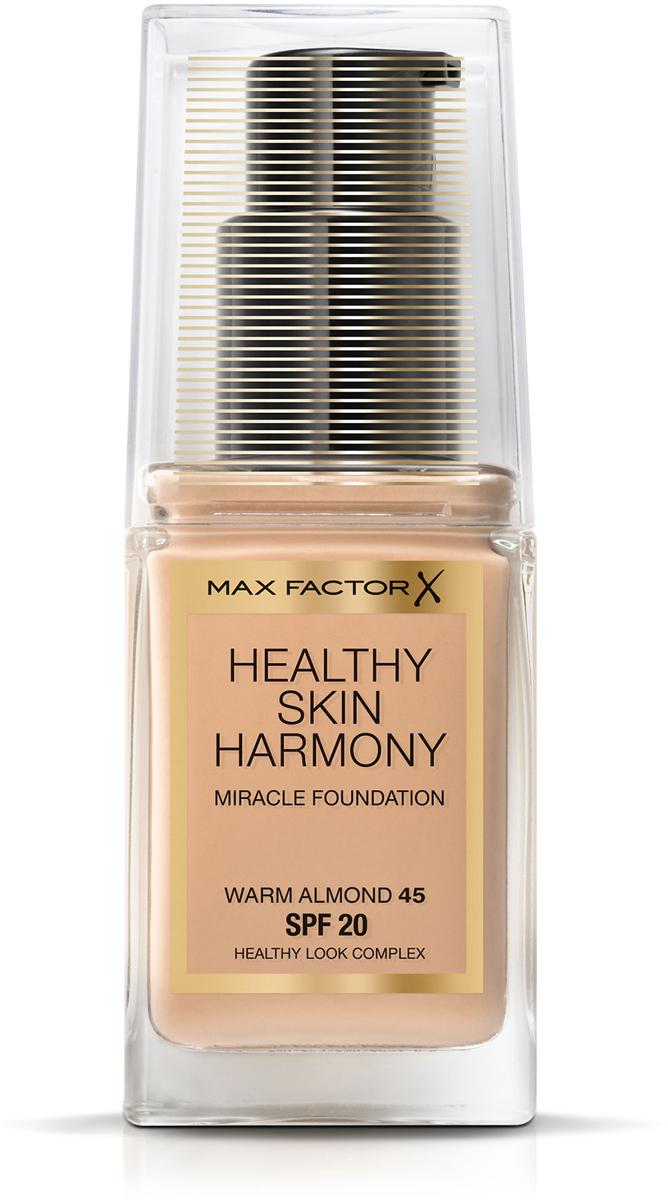 Max Factor Тональная основа Healthy Skin Harmony Miracle Foundation, тон №45 Warm Almond, 30 мл81619906Тональная основа Max Factor Healthy Skin Harmony Miracle Foundation — это многозадачный продукт, который позволяет вам добиться вида безупречной и сияющей здоровьем кожи, используя всего одно средство. Новая тональная основа— это лучшее решение для вашей кожи, чем полное отсутствие макияжа. Формула: Тональная основа Max Factor Healthy Skin Harmony Miracle Foundation— это гибридное средство для макияжа со смарт-формулой и интеллектуальными ингредиентами, разработанное специально для адаптации ко внутренним и внешним стрессам, которым подвергается кожа в течении дня: 24-часовое увлажнение, защита от солнца SPF20 и контроль за блеском помогают защитить вашу кожу от пересыхания, блеска и солнечного излучения. Основа восстанавливает усталую, подвергающуюся стрессу кожу и улучшает ее состояние. Секреты визажистов Чтобы подобрать правильный оттенок тональной основы, подходящий вашему тону кожи, нанесите средство на линию челюсти. Для того, чтобы получить равномерное покрытие, нанесите небольшое количество средства по центру лица и растушуйте при помощи кисти для тональной основы или кончиками пальцев в направлении к внешним краям лица. Всегда наносите основу в условиях хорошего естественного освещения.