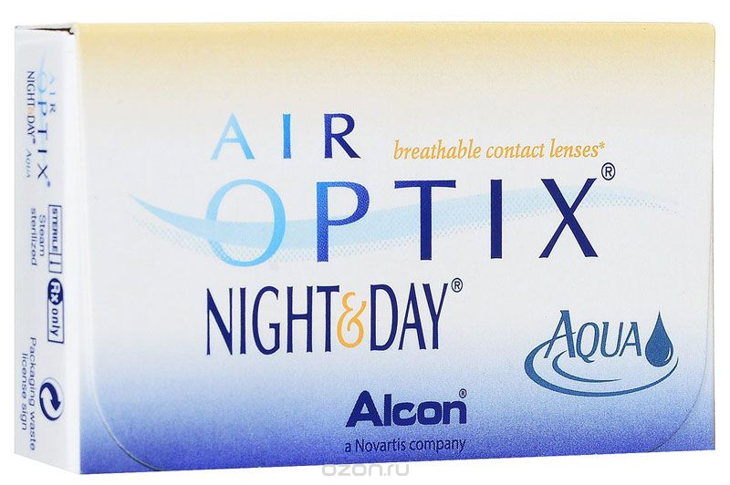 Alcon-CIBA Vision контактные линзы Air Optix Night & Day Aqua (3шт / 8.6 / -6.00)44359Само название линз Air Optix Night & Day Aqua говорит само за себя - это возможностьиспользования одной пары линз 24 часа в сутки на протяжении целого месяца! Это уникальныелинзы от мирового производителя Сiba Vision, не имеющие аналогов. Их неоспоримымпреимуществом является отсутствие необходимости очищения и ухода за линзами. Линзы рассчитаны на непрерывный график ношения. Изготовлены из современногобиосовместимого материала лотрафилкон А, который имеет очень высокий коэффициентпропускания кислорода, обеспечивая его доступ даже во время сна. Наивысшее пропускание кислорода! Кислородопроницаемость контактных линз Air Optix Night &Day Aqua - 175 Dk/t. Это более чем в 6 раз больше, чем у ближайших конкурентов. Еще одно отличие линз Air Optix Night & Day Aqua - их асферический дизайн. Множественныеклинические исследования доказали, что поверхность линз устраняет асферическиеаберрации, что позволяет вам видеть более четко и повышает остроту зрения. Ежемесячные контактные линзы Air Optix Night & Day Aqua характеризуются низкимсодержанием воды. Именно это позволяет снизить до минимума дегидродацию. В конце дня увас не возникнет ощущения сухости глаз или дискомфорта. С ними вы сможете наслаждатьсяжизнью. Контактные линзы Air Optix Night & Day Aqua смогли доказать, что непрерывноеношение линз - это безопасный и удобный метод коррекции зрения! Характеристики: Материал: лотрафилкон А. Кривизна: 8.6. Оптическая сила:- 6.00. Содержание воды: 24%. Диаметр: 13,8 мм. Количестволинз: 3 шт. Размер упаковки: 9 см х 5 см х 1 см. Производитель:США. Товар сертифицирован. Уважаемые клиенты! Обращаем ваше внимание на то, что упаковка может иметь нескольковидов дизайна.Поставка осуществляется в зависимости от наличия на складе. Контактные линзы или очки: советыофтальмологов. Статья OZON Гид