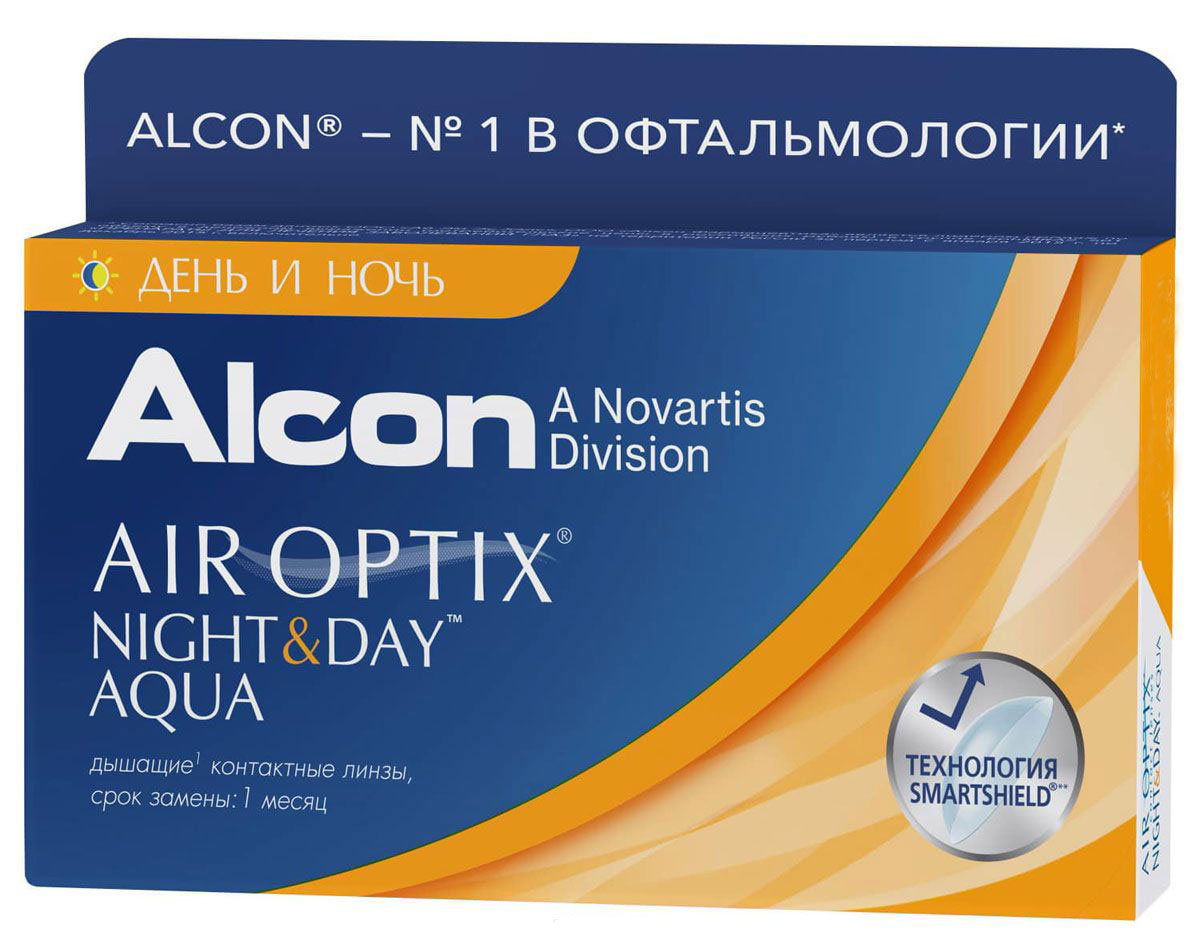 Alcon-CIBA Vision контактные линзы Air Optix Night & Day Aqua (3шт / 8.6 / -3.50)12055Само название линз Air Optix Night & Day Aqua говорит само за себя - это возможностьиспользования одной пары линз 24 часа в сутки на протяжении целого месяца! Это уникальныелинзы от мирового производителя Сiba Vision, не имеющие аналогов. Их неоспоримымпреимуществом является отсутствие необходимости очищения и ухода за линзами. Линзы рассчитаны на непрерывный график ношения. Изготовлены из современногобиосовместимого материала лотрафилкон А, который имеет очень высокий коэффициентпропускания кислорода, обеспечивая его доступ даже во время сна. Наивысшее пропускание кислорода! Кислородопроницаемость контактных линз Air Optix Night &Day Aqua - 175 Dk/t. Это более чем в 6 раз больше, чем у ближайших конкурентов. Еще одно отличие линз Air Optix Night & Day Aqua - их асферический дизайн. Множественныеклинические исследования доказали, что поверхность линз устраняет асферическиеаберрации, что позволяет вам видеть более четко и повышает остроту зрения. Ежемесячные контактные линзы Air Optix Night & Day Aqua характеризуются низкимсодержанием воды. Именно это позволяет снизить до минимума дегидродацию. В конце дня увас не возникнет ощущения сухости глаз или дискомфорта. С ними вы сможете наслаждатьсяжизнью. Контактные линзы Air Optix Night & Day Aqua смогли доказать, что непрерывноеношение линз - это безопасный и удобный метод коррекции зрения! Замена через 1 месяц. Характеристики:Материал: лотрафилкон А. Кривизна: 8.6. Оптическая сила:- 3.50. Содержание воды: 24%. Диаметр: 13,8 мм. Количестволинз: 3 шт. Размер упаковки: 9 см х 5 см х 1 см. Производитель:Индонезия. Товар сертифицирован. Уважаемые клиенты! Обращаем ваше внимание на то, что упаковка может иметь несколько видовдизайна.Поставка осуществляется в зависимости от наличия на складе. Контактные линзы или очки: советыофтальмологов. Статья OZON Гид
