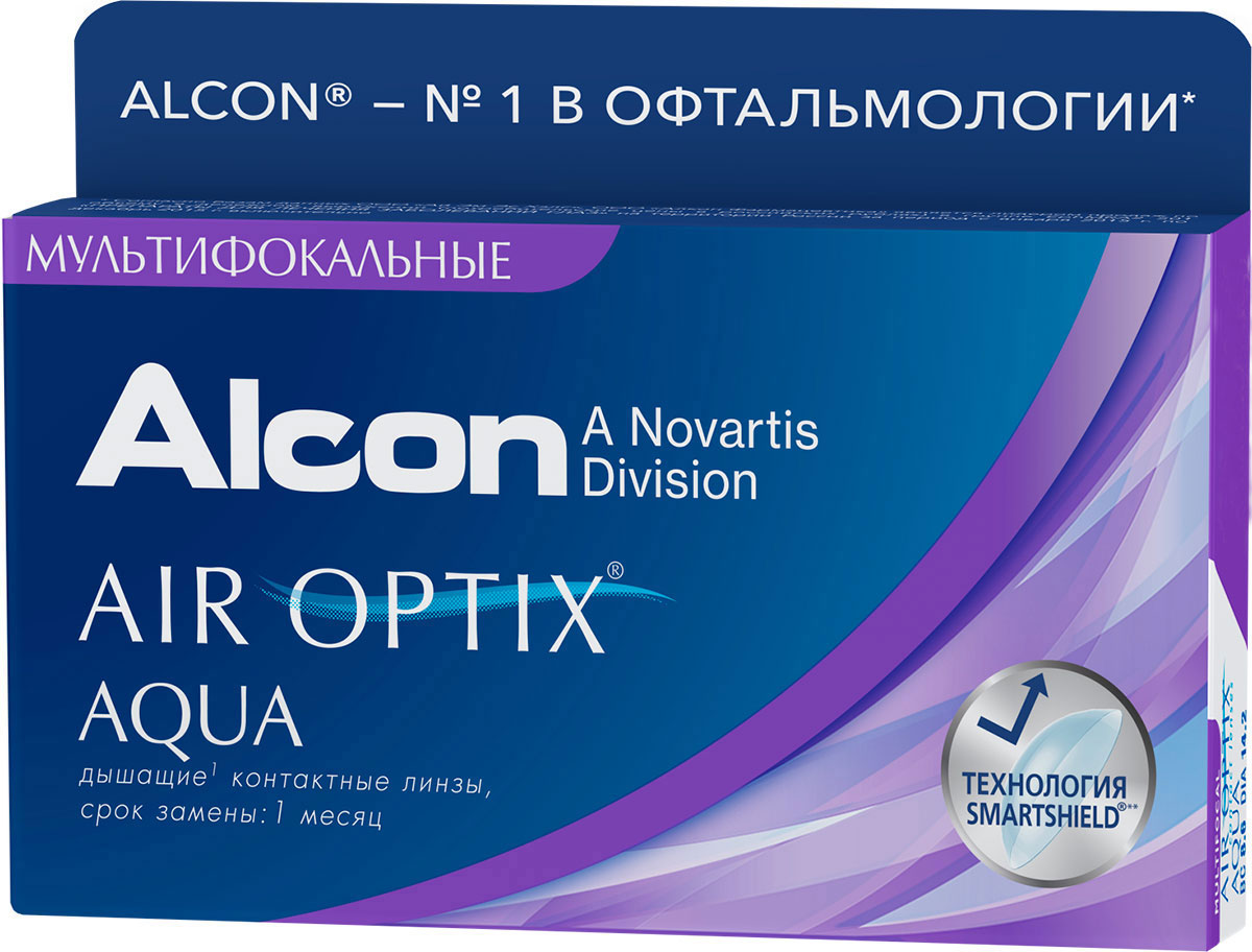 Alcon-CIBA Vision контактные линзы Air Optix Aqua Multifocal (3шт / 8.6 / 14.2 / -4.00 / Med)
