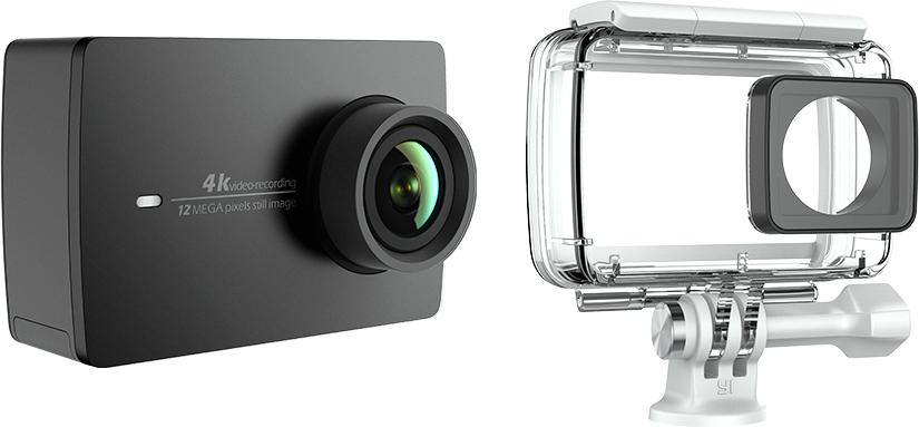 Xiaomi YI 4K, Black экшн-камера + аквабокс90025Экшн камера Xiaomi YI 4K - это ультимативное решение для отдыха и туризма, позволяющее запечатлеть самыеяркие моменты вашего путешествия в высоком разрешении 4K.Модель оснащена процессором Ambarella A9SE75, сенсором Sony IMX377, и 7-элементными стеклянными линзами.Эта камера собрала воедино сразу все передовые достижения техники. Xiaomi YI 4K обеспечит максимальноекачество, универсальность и простоту использования.7-элементная стеклянная линза с апертурой F2.8 позволяет поймать больше света и сделать кадры четче идетальнее.Специально изготовленный сенсорный экран с высоким разрешением и плотностью 330 ppi для интуитивногоуправления. Дисплей с диагональю 2.19 дюйма (5.5 см) покрыт Gorilla Glass для защиты от царапин и ударов. Уголобзора экрана 160°. Вы не пропустите лучший кадр на широком дисплее с разрешением 640х360 и сможетепросмотреть снятый материал. Управляйте Xiaomi YI 4K кончиками пальцев одной руки, вторая рука непонадобится.Литий-ионная батарея емкостью 1400 мАч и напряжением 4.4В поставляется от ведущего мировогопроизводителя Amperext Technology - поставщика батарей для Apple iPhone. Xiaomi YI 4K работает 8 часов врежиме ожидания и позволяет 120 минут снимать видео в качестве 4K / 30 к/с от одной зарядки.Мировой лидер по производству микросхем Broadcom представляет новейший чип BCM43340, который передаетданные практически мгновенно. Поддерживаются протоколы 802.11 a/b/g/n на частотах 2.4 ГГц / 5 ГГц сулучшенной технологией против помех. Скачивайте со скоростью до 30 Мбит в секунду и получите большевремени на съемку и обработку отснятого видео.Редактирование видео и изображений за 30 секунд, видео фильтры и добавление музыки. Этого вполнедостаточно для того, чтобы обрабатывать отснятое видео легко и просто, но на профессиональном уровне. Выникогда не захотите снова использовать компьютер для работы с видео!Не просто снимайте и редактируйте захватывающие видео, но и делитесь ими с мировым сообществом YI! Есливы 