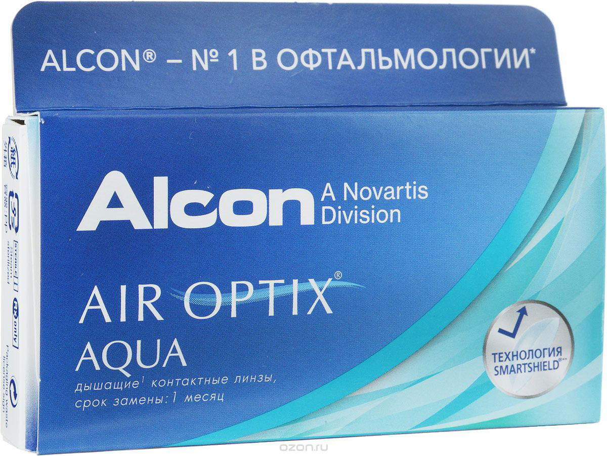Alcon-CIBA Vision контактные линзы Air Optix Aqua (3шт / 8.6 / 14.20 / -3.00)44351Air Optix Aqua являются революционными силикон-гидрогелевыми новейшими контактнымилинзами от производителя, известного во всем мире - Ciba Vision. Когда началась разработкаэтих линз, то в качестве основы взяли известные линзы предшествующего поколения. Ихдоработала команда профессионалов, учитывая новые технологии и возможности. Как и предшествующая модель, эти линзы сделаны из расчета месячного ношения.Производят линзы из нового материала лотрафикон В, показывающего отличный результат посодержанию влаги и по проводимости кислорода. Линзы можно носить как в дневное время (в течение тридцати дней), так и дляпролонгированного применения в течение 6 суток. Но каким бы режимом вы не воспользовалисьпри их ношении - на протяжении всего месяца линзы будут следить за вашими глазами, подариввам комфорт и увлажненность. Технологии Aqua Moisture - это комплексные меры от известной фирмы Ciba Vision, которыеиспользуются при производстве линз. Во-первых, в них входит революционный увлажняющийагент, препятствующий высыханию линзы, делая их для глаз совсем незаметными. Во-вторых,запатентованный материал поможет поддержать на высоком уровне увлажненность, поэтомуносить линзы на протяжении всего времени, довольно комфортно. В-третьих, отполированныеповерхности линзы придают идеальное скольжение. Кроме этого линза довольно устойчива котложениям и всяческим загрязнениям. Как и линза предшествующего поколения, Air Optix Aqua имеет довольно высокуюкислородопроводность - 138 Dk/L. Данный показатель значительно больше, чем у другихконкурентов. Новейшие представленные линзы навсегда оградят вас от сухости и дискомфорта!Характеристики:Материал: лотрафикон В. Кривизна: 8.6. Оптическая сила: -3. Содержание воды: 33%. Диаметр: 14,2 мм. Количество линз:3 шт. Размер упаковки: 9 см х 5 см х 1,3 см. Производитель: США.Товар сертифицирован. Уважаемые клиенты! Обращаем ваше внимание на то, что упаковка может иметь неск
