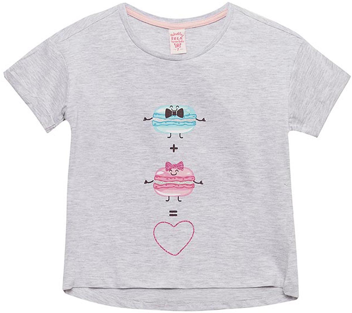 Футболка для девочки Sela, цвет: светло-серый. Ts-611/1188-8141. Размер 146Ts-611/1188-8141Футболка для девочки Sela выполнена из хлопка и полиэстера. Модель с круглым вырезом горловины и короткими рукавами.