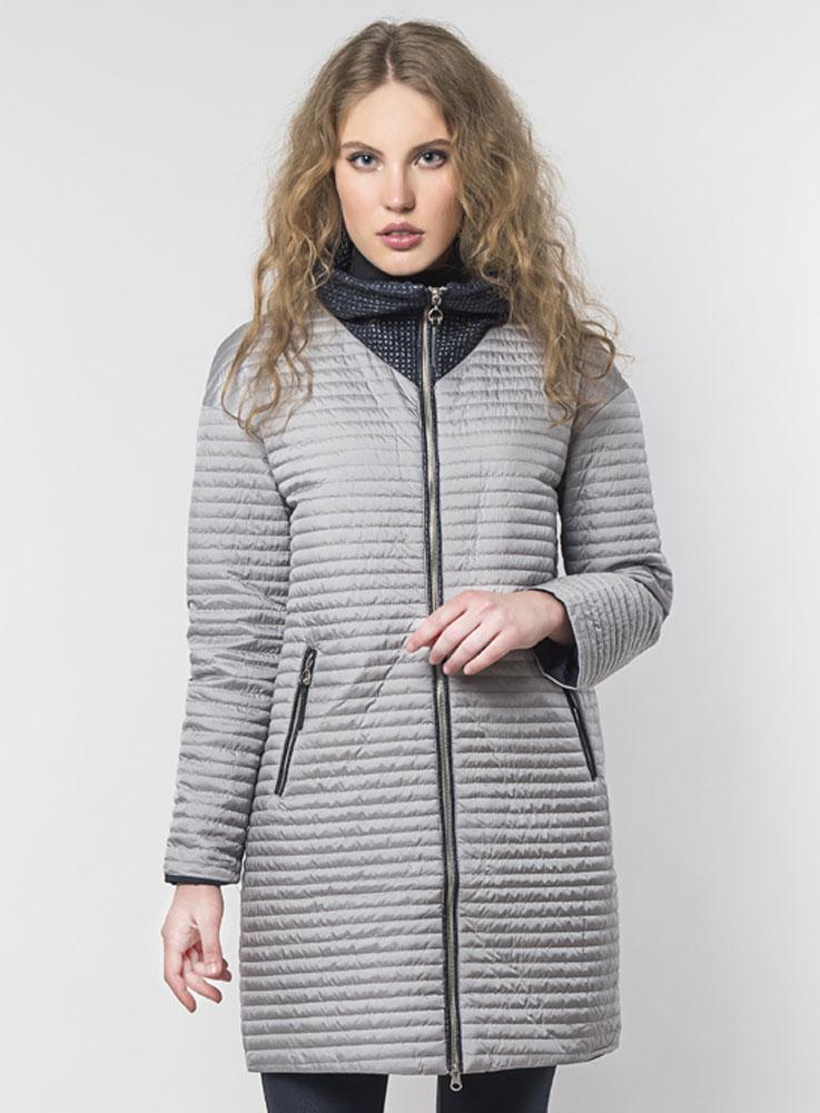 Куртка женская Elfina, цвет: серый, синий. 17221_DARK BLUE. Размер 52 женская утепленная куртка playboy 11237031