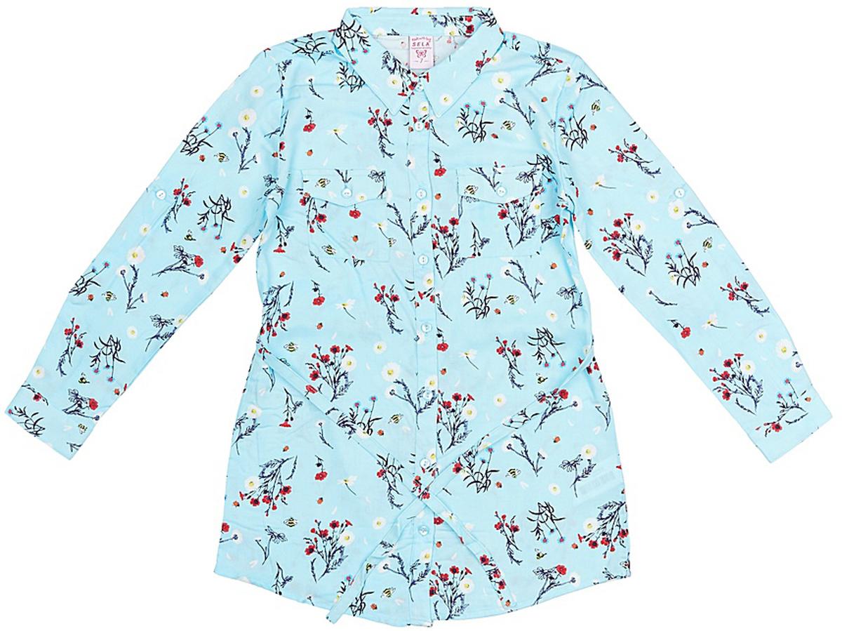 Блузка для девочки Sela, цвет: голубой. TKw-612/997-8131. Размер 128TKw-612/997-8131Блузка для девочки Sela выполнена из вискозы. Модель с отложным воротником застегивается на пуговицы.