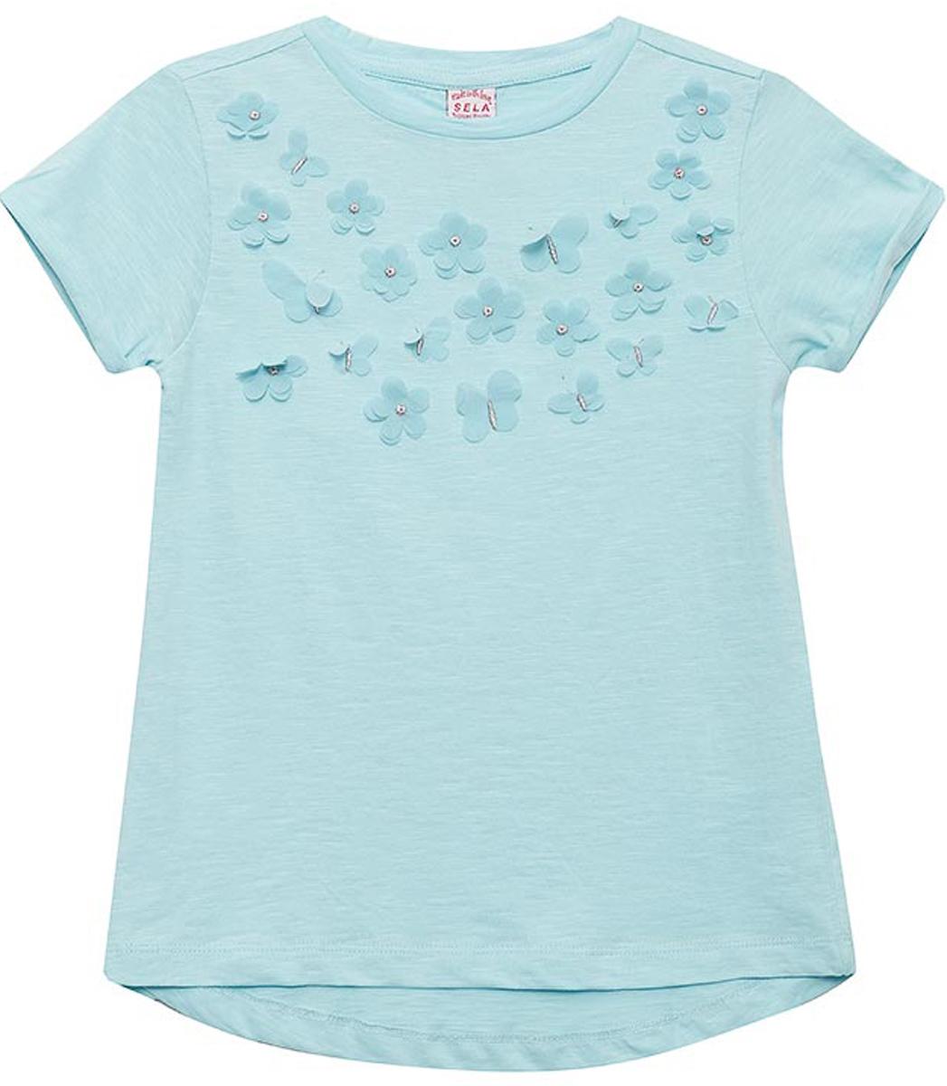Футболка для девочки Sela, цвет: голубой. Ts-611/1195-8131. Размер 128Ts-611/1195-8131Футболка для девочки Sela выполнена из натурального хлопка. Модель с круглым вырезом горловины и короткими рукавами.