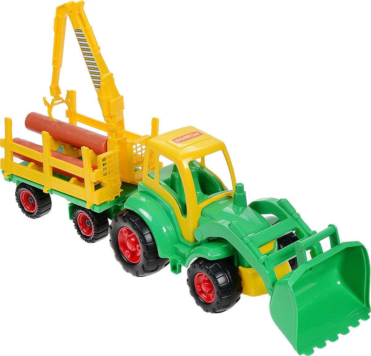 Полесье Трактор Чемпион  ковшом  прицепом-лесовозом цвет желтый зеленый