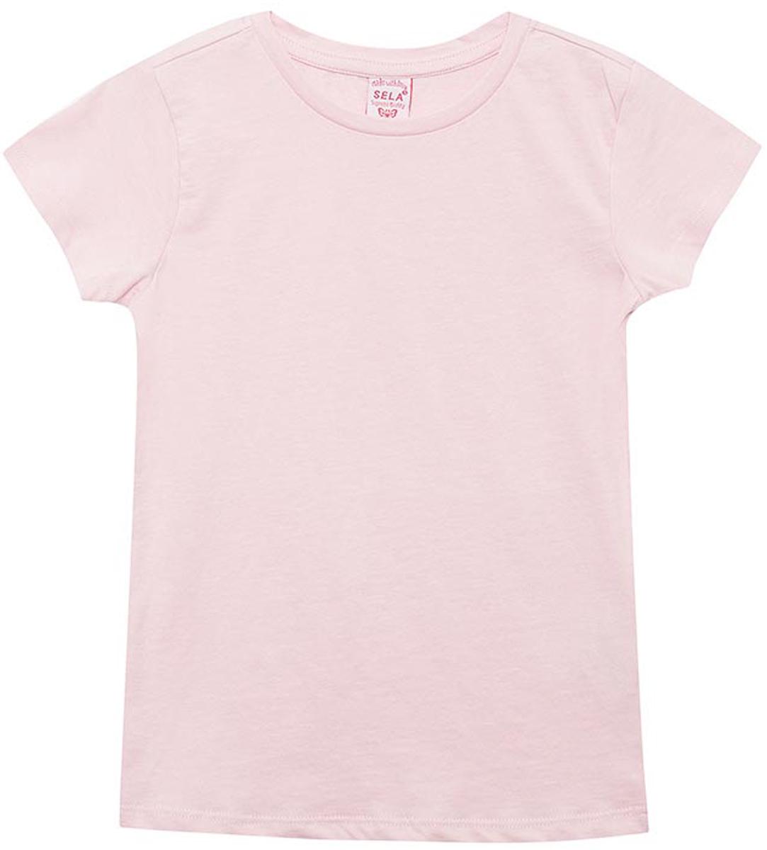 Футболка для девочки Sela, цвет: розовый. Ts-611/1257-8161. Размер 146Ts-611/1257-8161Футболка для девочки Sela выполнена из натурального хлопка. Модель с круглым вырезом горловины и короткими рукавами.