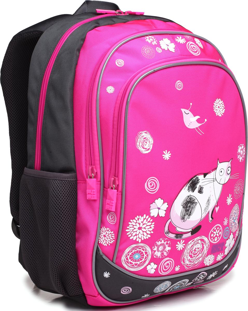 4ALL Рюкзак School цвет серый розовыйRU71-02P;RU71-02PРюкзак школьный 4ALL SCHOOL предназначен для девочек и мальчиков 1-4 классов средней школы. Материал рюкзака,полиэстер, стойкий к стиранию и воздействию неблагоприятных воздействий окружающей среды, морозоустойчив. Модель RU71 имеет 1 основное отделение, 2 больших дополнительных отделения на передней панели, 2 кармана из сетки для бутылок и мелочей. Для заботы о здоровье и комфорте у рюкзака есть ортопедическая спина и мягкие регулируемые лямки с фиксатором. Все карманы рюкзака застегиваются с помощью практичных и удобных застежек-молний. По всем основным конструктивным элементам рюкзак отделан светоотражающим кордом. Рюкзак от компании 4ALL украшен рисунками, разработанными дизайнерами компании! они придутся по душе мальчикам и девочкам!