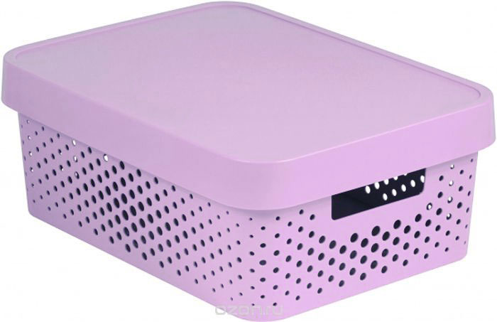 """Коробка для хранения Curver """"Infinity"""", перфорированная, с крышкой, цвет: розовый, 4,5 л"""