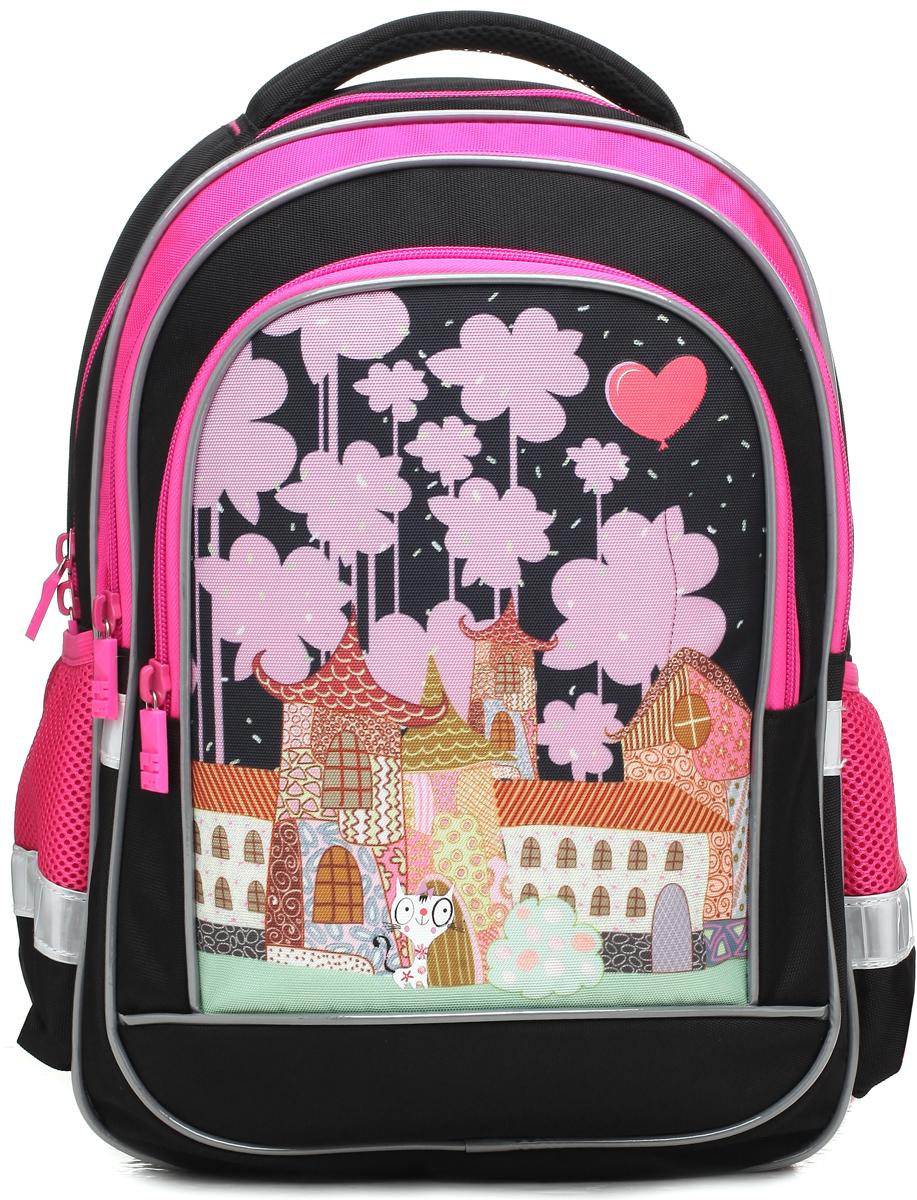 4ALL Рюкзак School цвет черный розовыйRU73-02PРюкзак школьный 4ALL School предназначен для девочек 1-4 классов средней школы. Материал рюкзака стойкий к стиранию и воздействию неблагоприятных воздействий окружающей среды, морозоустойчив. Модель имеет 1 основное отделение, 2 больших дополнительных отделения на передней панели, 2 кармана из сетки для бутылок и мелочей. Для заботы о здоровье и комфорте у рюкзака есть ортопедическая спина и мягкие регулируемые лямки с фиксатором. Все карманы рюкзака застегиваются с помощью практичных и удобных застежек-молний. По всем основным конструктивным элементам рюкзак отделан светоотражающим кордом. Рюкзак украшен рисунком, который придется по душе девочкам!