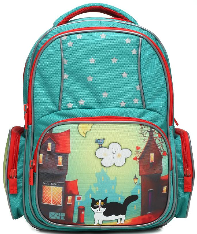 4ALL Рюкзак School цвет синий зеленыйRU74-01P;RU74-01PРюкзак школьный 4ALL SCHOOL предназначен для девочек и мальчиков 1-4 классов средней школы. Материал рюкзака, полиэстер, стойкий к стиранию и воздействию неблагоприятных воздействий окружающей среды, морозоустойчив. Модель RU74 имеет 1 основное отделение, 1 дополнительное отделение передней панели, , 1 большой дополнительный карман-планшет спереди, 2 дополнительных карман-планшета сбоку рюкзака. Для заботы о здоровье и комфорте у рюкзака есть ортопедическая спина и мягкие регулируемые лямки с фиксатором. Все карманы рюкзака застегиваются с помощью практичных и удобных застежек-молний. По всем основным конструктивным элементам рюкзак отделан светоотражающим кордом. Рюкзак от компании 4ALL украшен рисунками, разработанными дизайнерами компании! они придутся по душе мальчикам и девочкам!