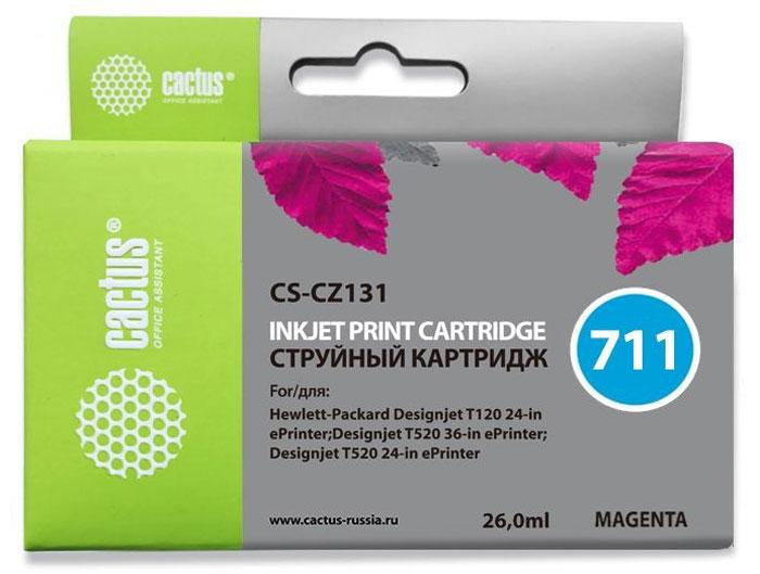 Cactus CS-CZ131 №711, Magenta картридж струйный для HP DJ T120/T520CS-CZ131Картридж Cactus CS-CZ131 №711 для струйных принтеров HP DJ T120/T520.Расходные материалы Cactus для печати максимизируют характеристики принтера. Обеспечивают повышенную четкость изображения и плавность переходов оттенков и полутонов, позволяют отображать мельчайшие детали изображения. Обеспечивают надежное качество печати.Уважаемые клиенты! Обращаем ваше внимание на то, что упаковка может иметь несколько видов дизайна. Поставка осуществляется в зависимости от наличия на складе.