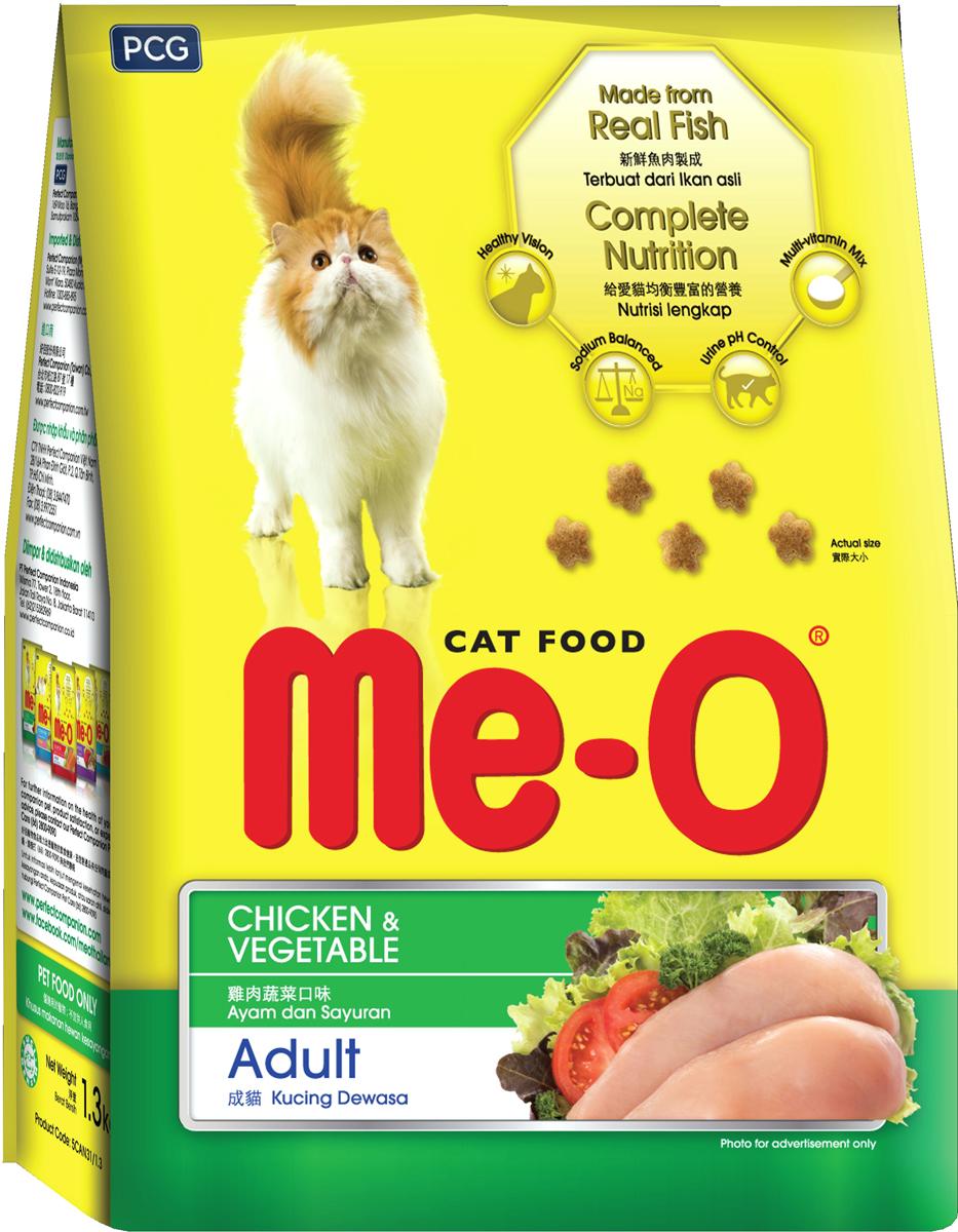 Корм сухой для кошек и котов PCG Ме-О, курица с овощами, 200 г, 35 шт паучи для котят pcg ме о тунец в желе 80 г