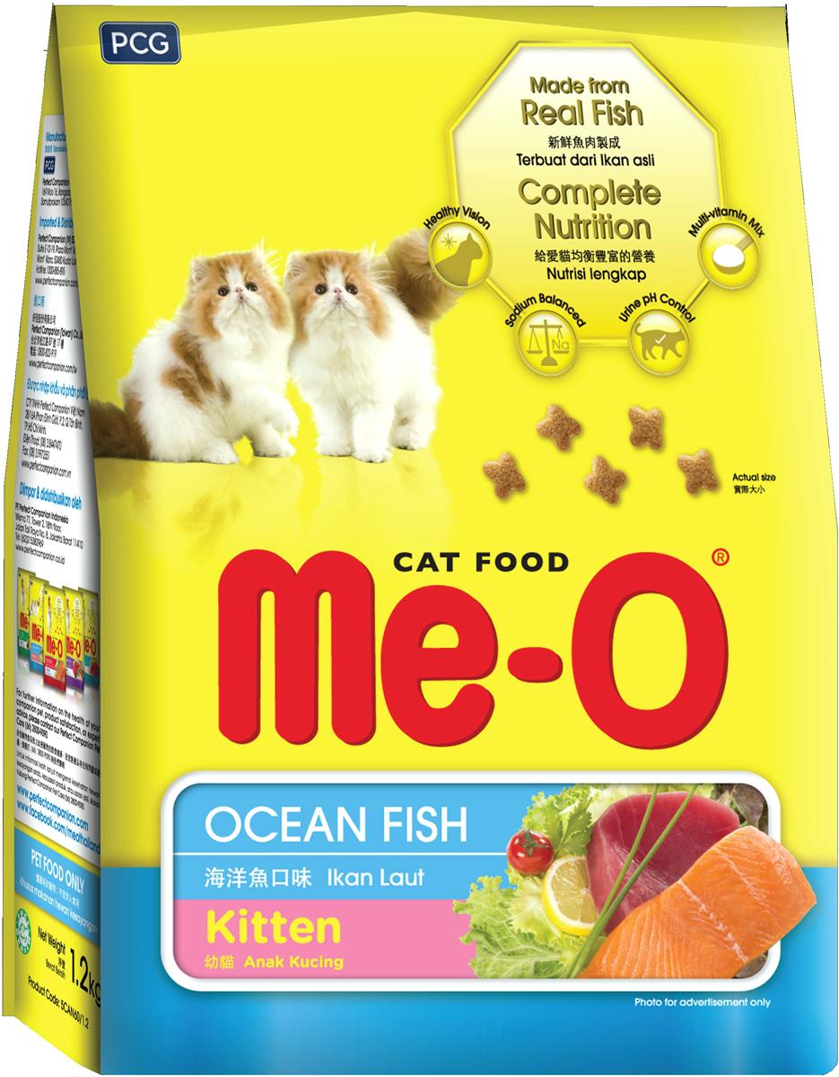 Корм сухой для котят PCG Ме-О, океаническая рыба, 1,1 кг паучи для котят pcg ме о тунец в желе 80 г